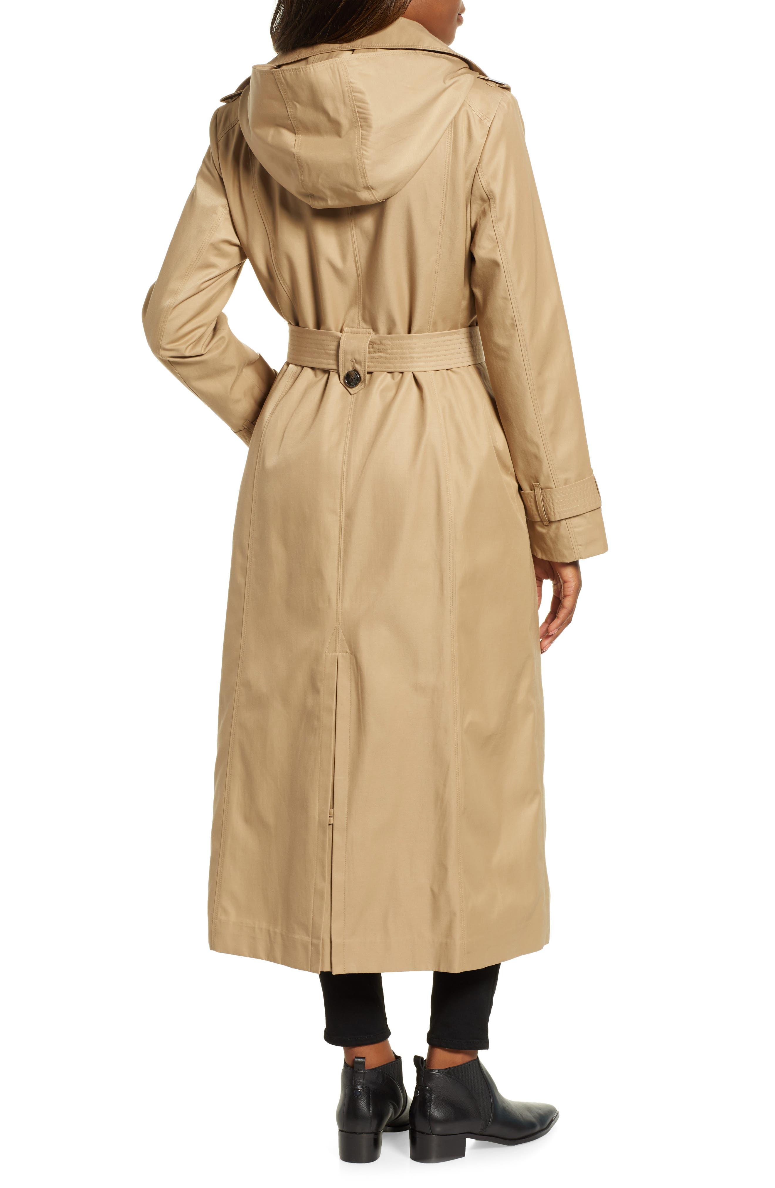 LONDON FOG, Jill Long Trench Coat, Alternate thumbnail 2, color, KHAKI