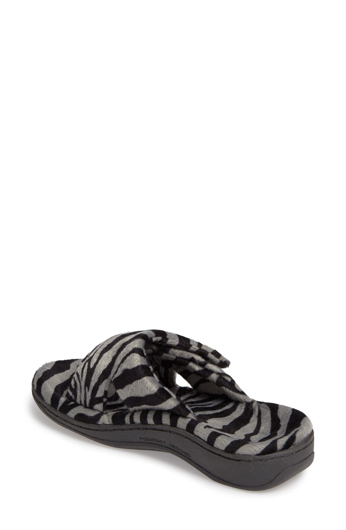 VIONIC, Indulge Relax Slipper, Alternate thumbnail 5, color, GREY ZEBRA FABRIC