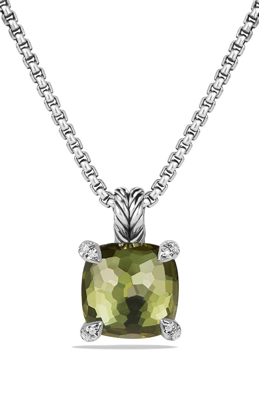 DAVID YURMAN, 'Châtelaine' Pendant Necklace with Semiprecious Stone & Diamonds, Main thumbnail 1, color, SILVER/ CITRINE/ HEMATINE