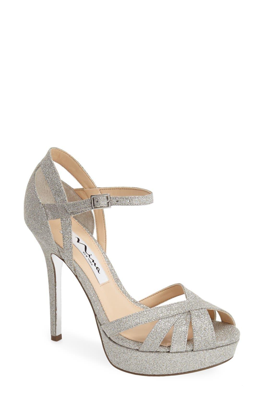 NINA, 'Senora' Glitter Satin Sandal, Main thumbnail 1, color, 042