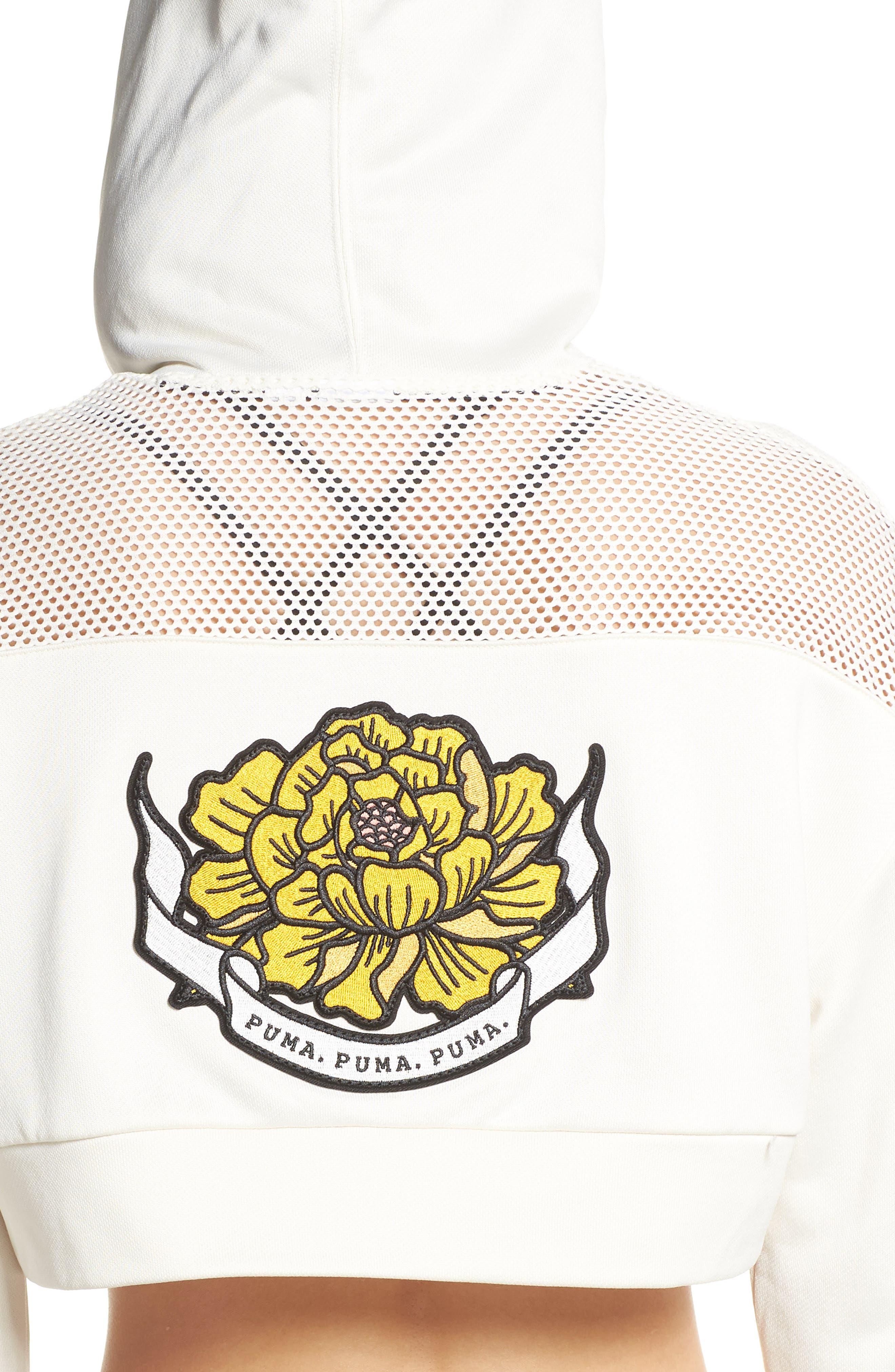 PUMA, Flourish Crop Hooded Sweatshirt, Alternate thumbnail 5, color, WHISPER WHITE-PUMA BLACK