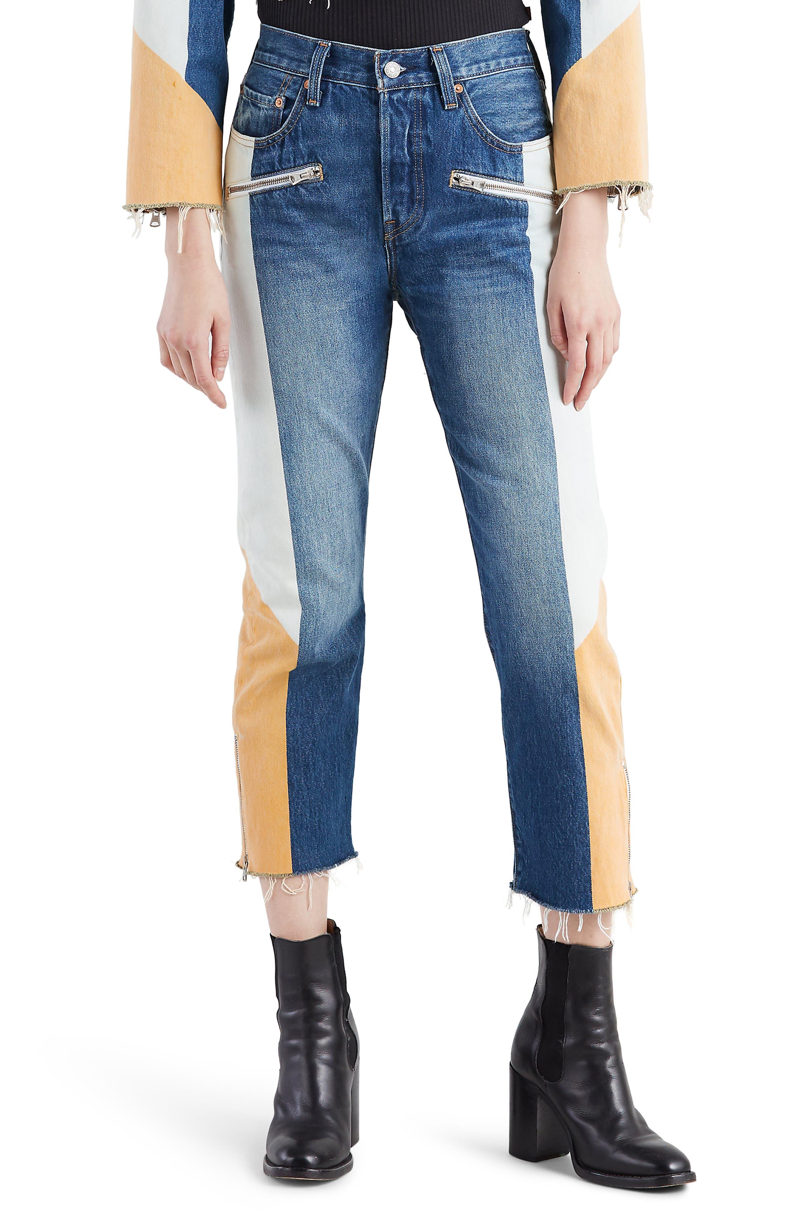 LEVI'S<SUP>®</SUP> 501<sup>®</sup> Moto Crop Jeans, Main, color, SHOW TEETH