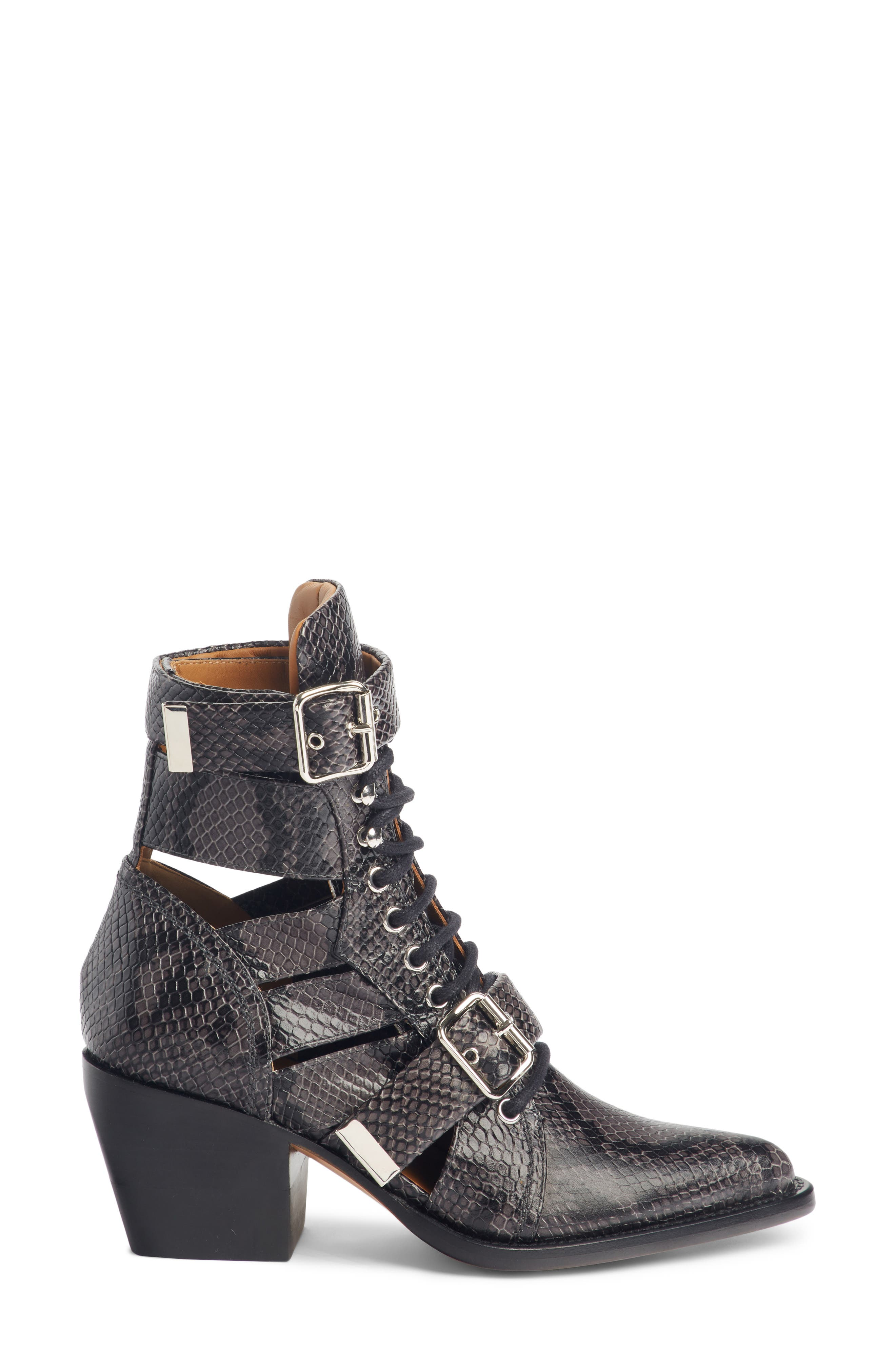 CHLOÉ, Rylee Caged Pointy Toe Boot, Alternate thumbnail 3, color, CHARCOAL BLACK
