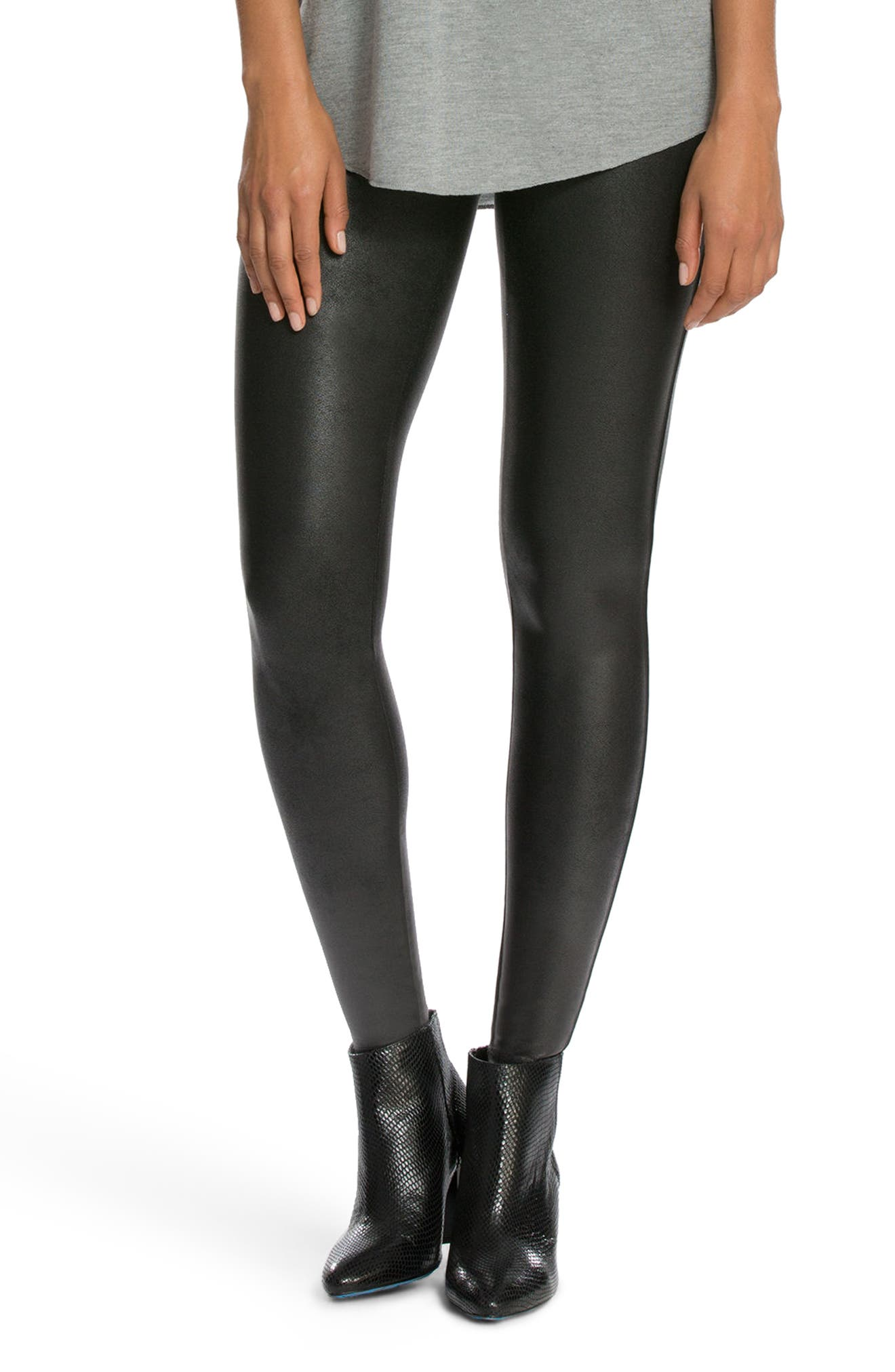 SPANX<SUP>®</SUP>, Faux Leather Leggings, Main thumbnail 1, color, BLACK