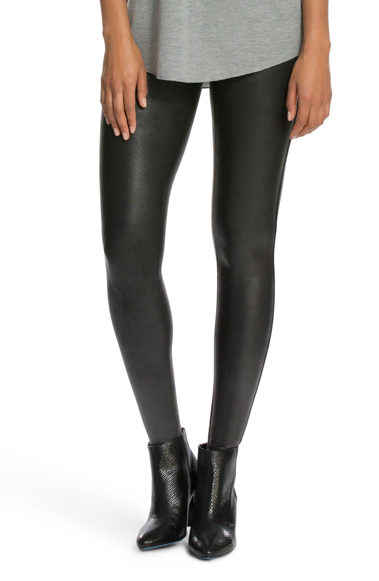 SPANX<SUP>®</SUP>, Faux Leather Leggings, Main thumbnail 1, color, BLACK