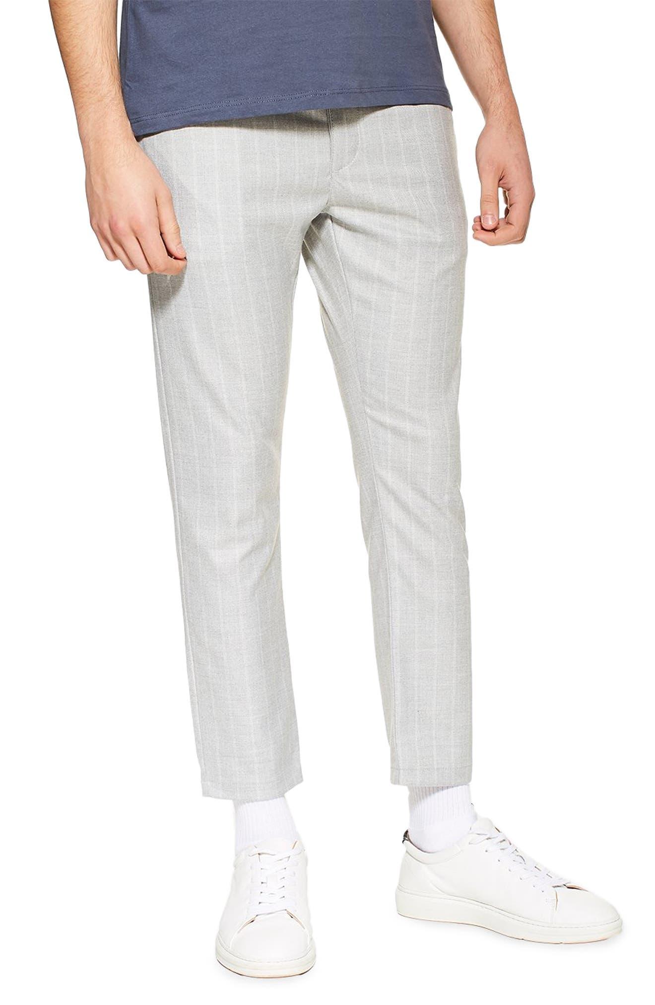 TOPMAN, Skinny Fit Stripe Crop Trousers, Main thumbnail 1, color, GREY