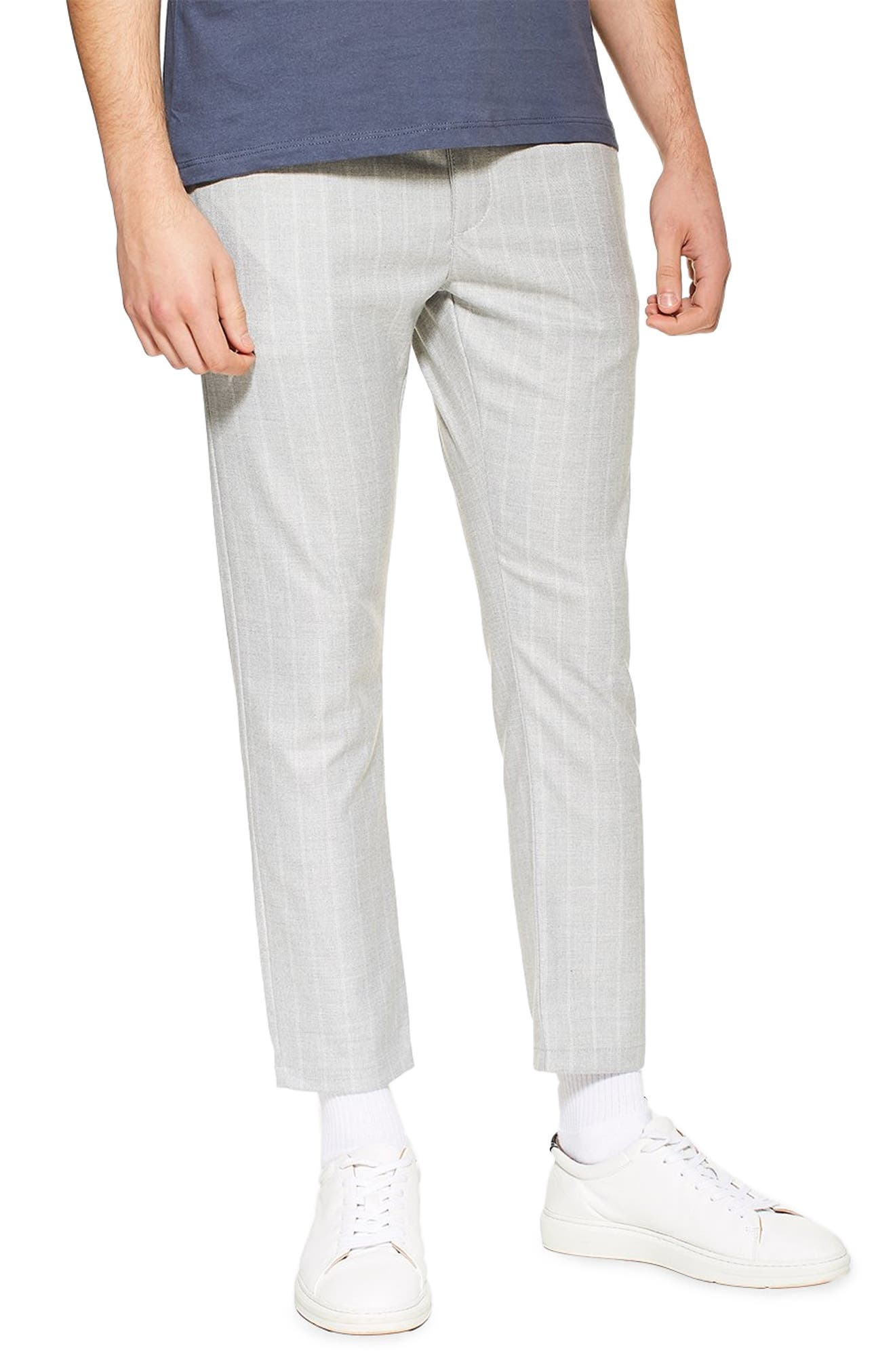 TOPMAN Skinny Fit Stripe Crop Trousers, Main, color, GREY