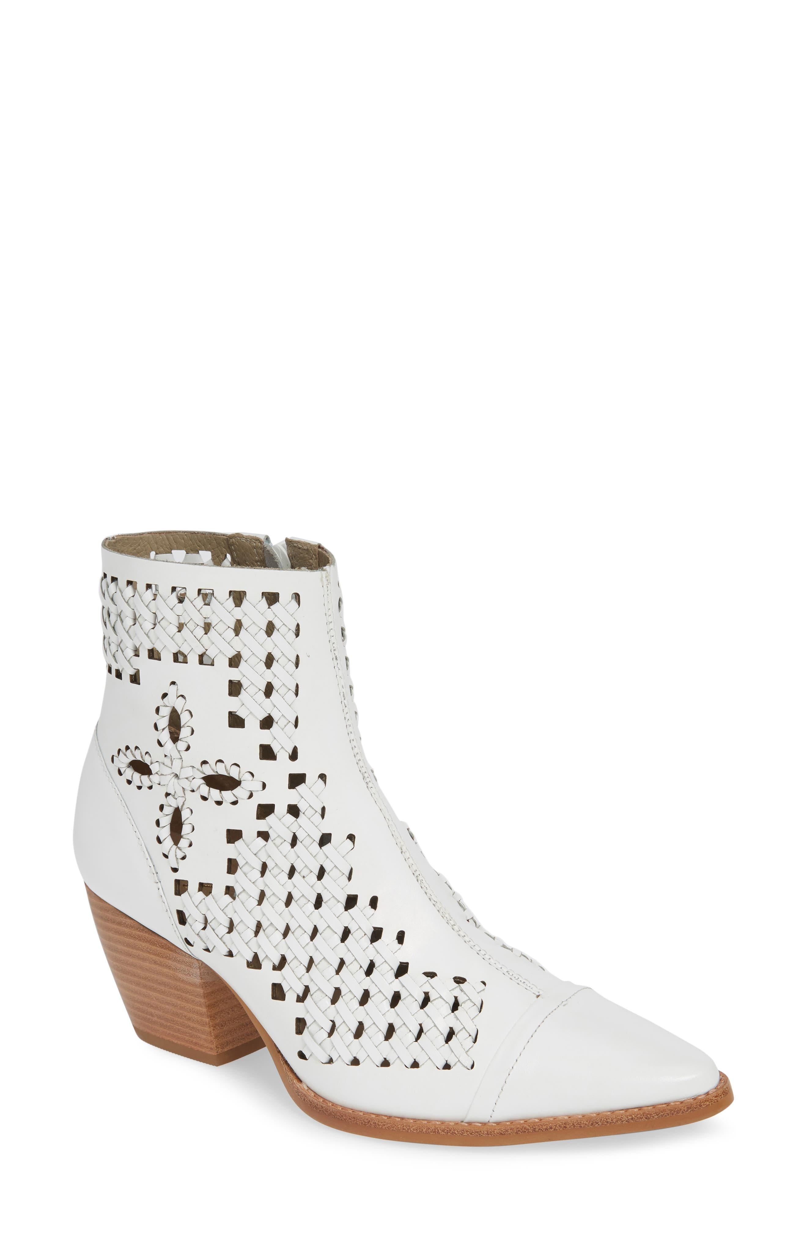 Matisse Bello Woven Pointy Toe Bootie, White
