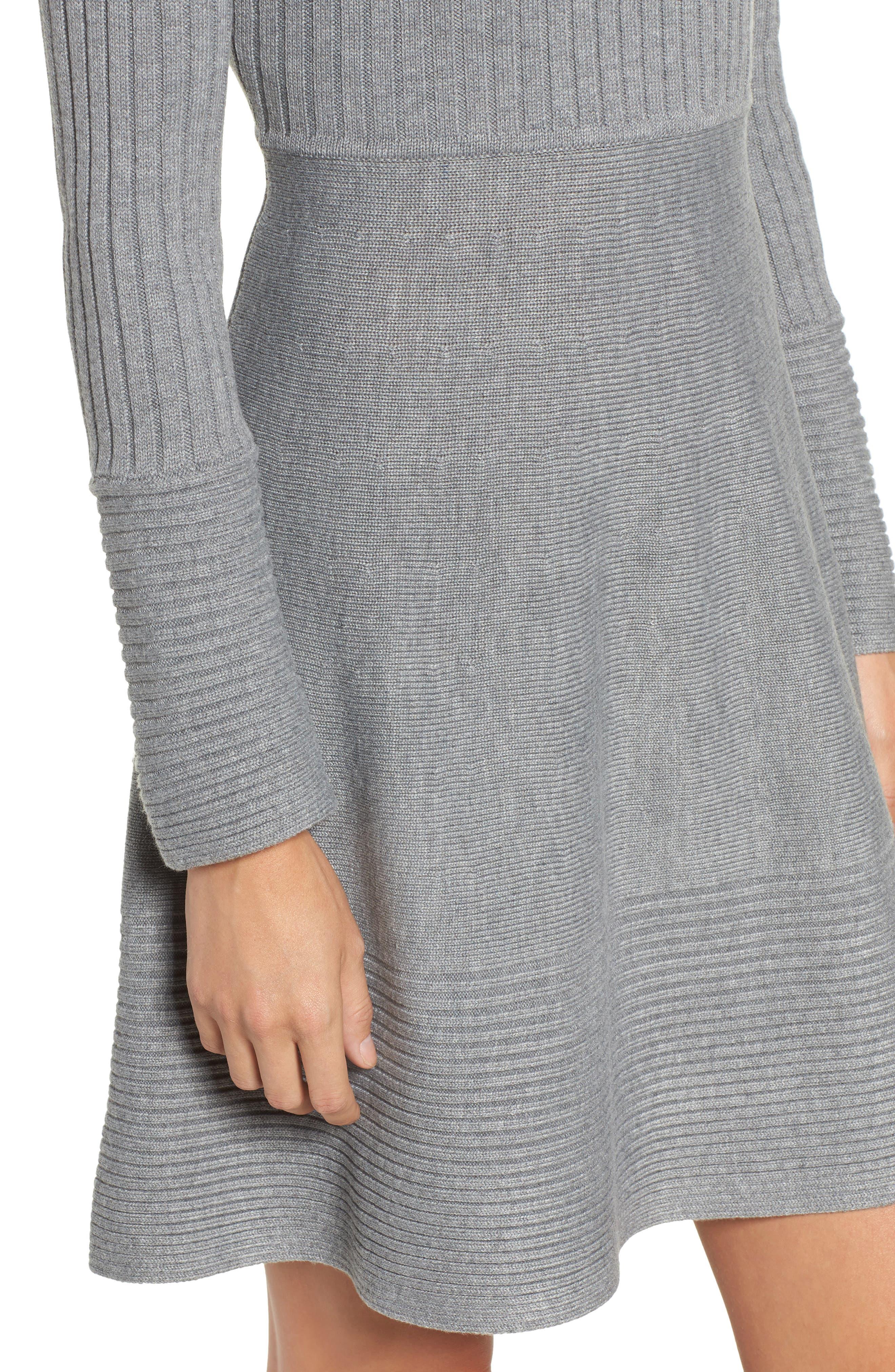 ELIZA J, Turtleneck Sweater Dress, Alternate thumbnail 5, color, GREY