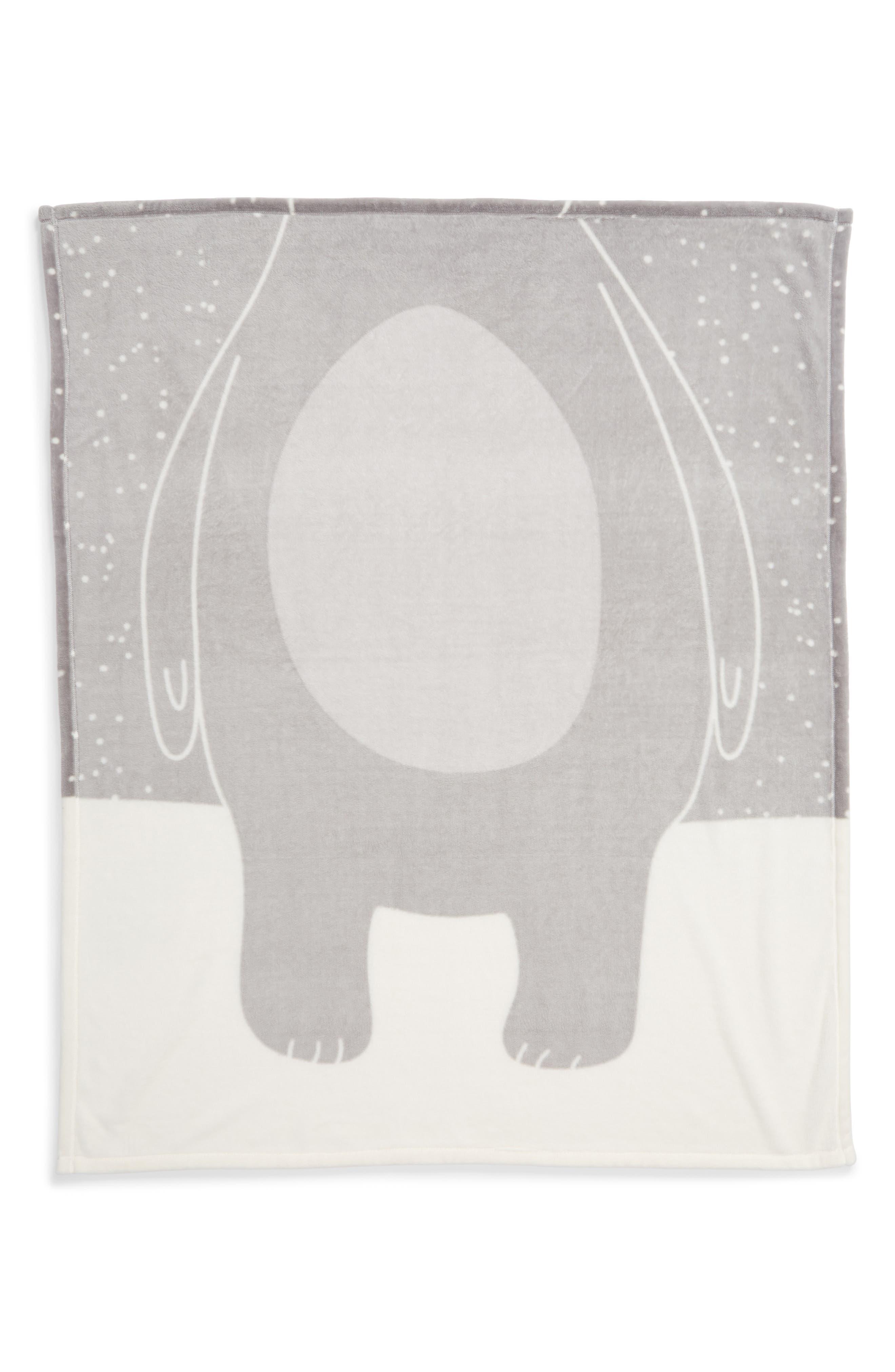 NORDSTROM AT HOME, Bear Suit Plush Throw, Alternate thumbnail 2, color, GREY VAPOR BEAR