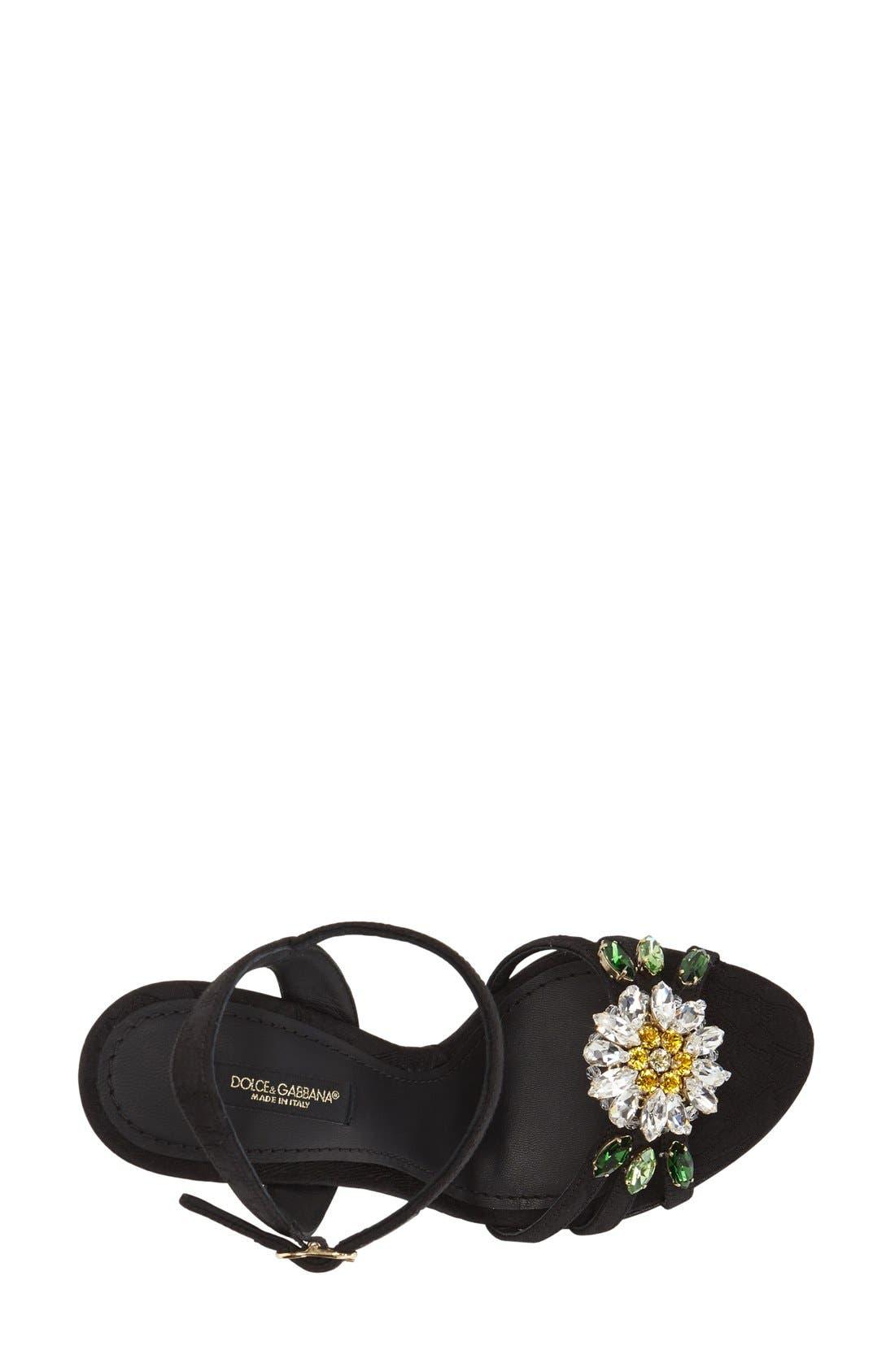 DOLCE&GABBANA, Jeweled Strappy Sandal, Alternate thumbnail 4, color, 001