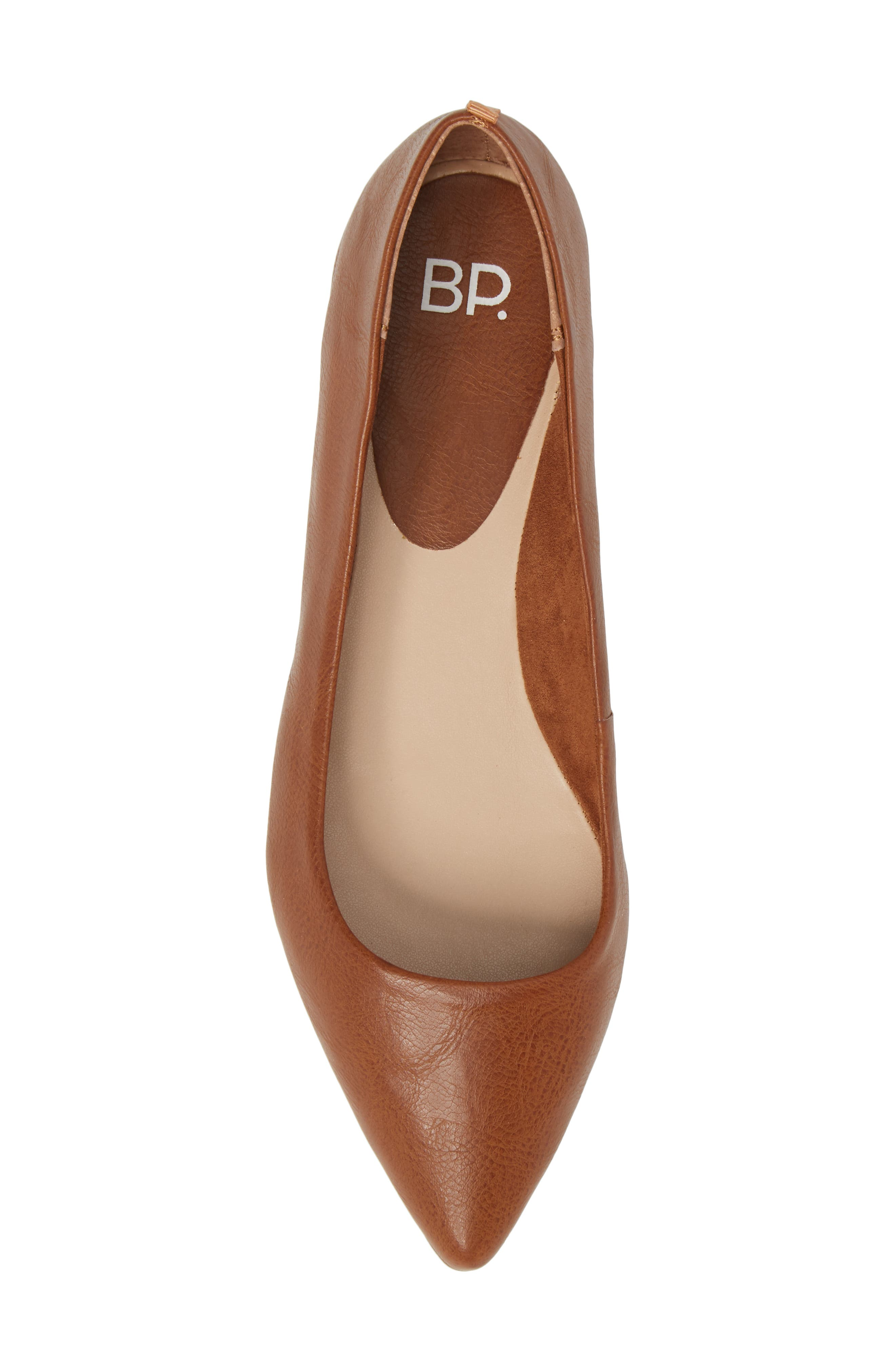 BP., Sasha Flat, Alternate thumbnail 5, color, COGNAC SMOOTH FAUX LEATHER
