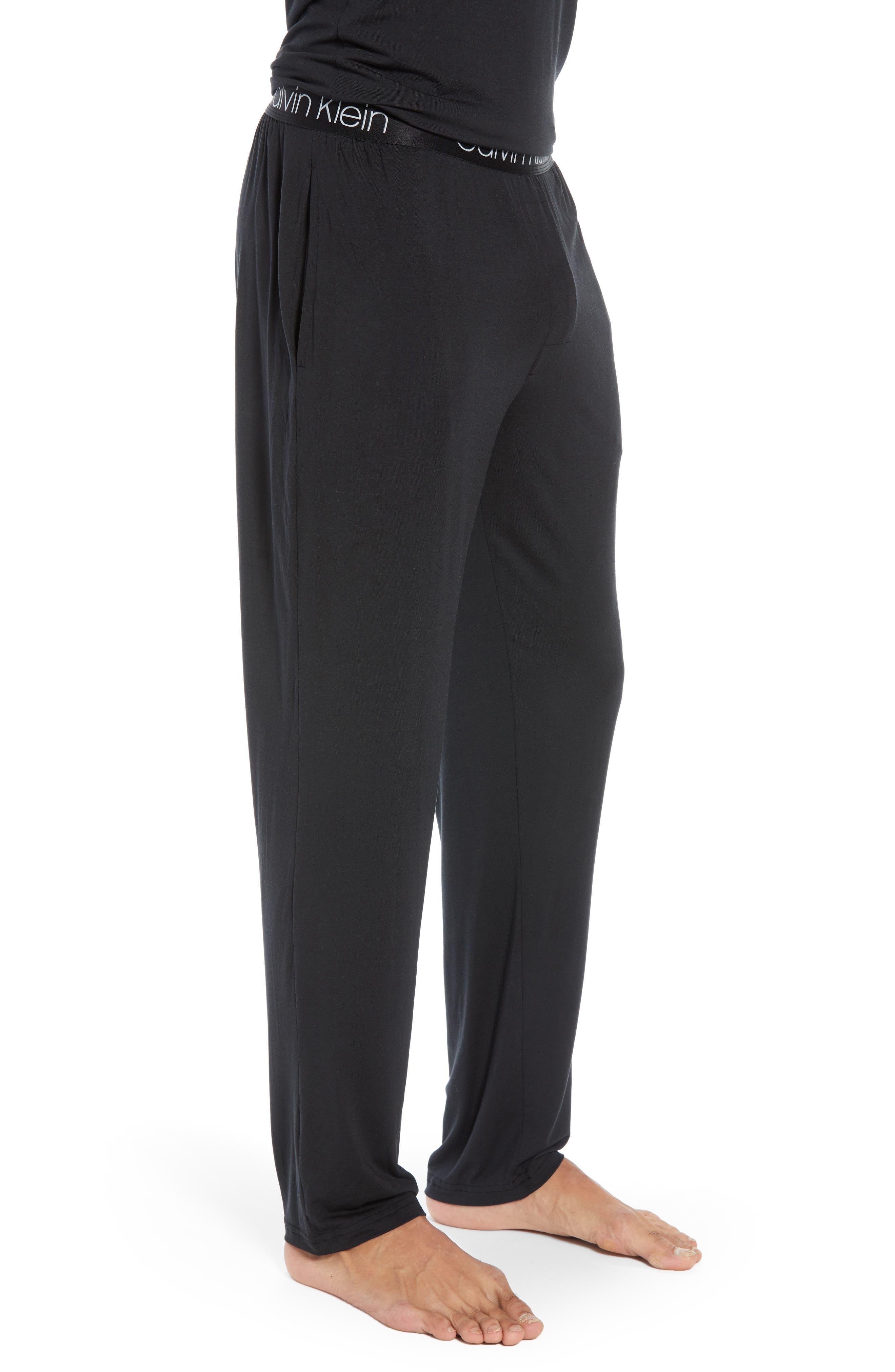 CALVIN KLEIN, Stretch Modal Lounge Pants, Alternate thumbnail 3, color, BLACK
