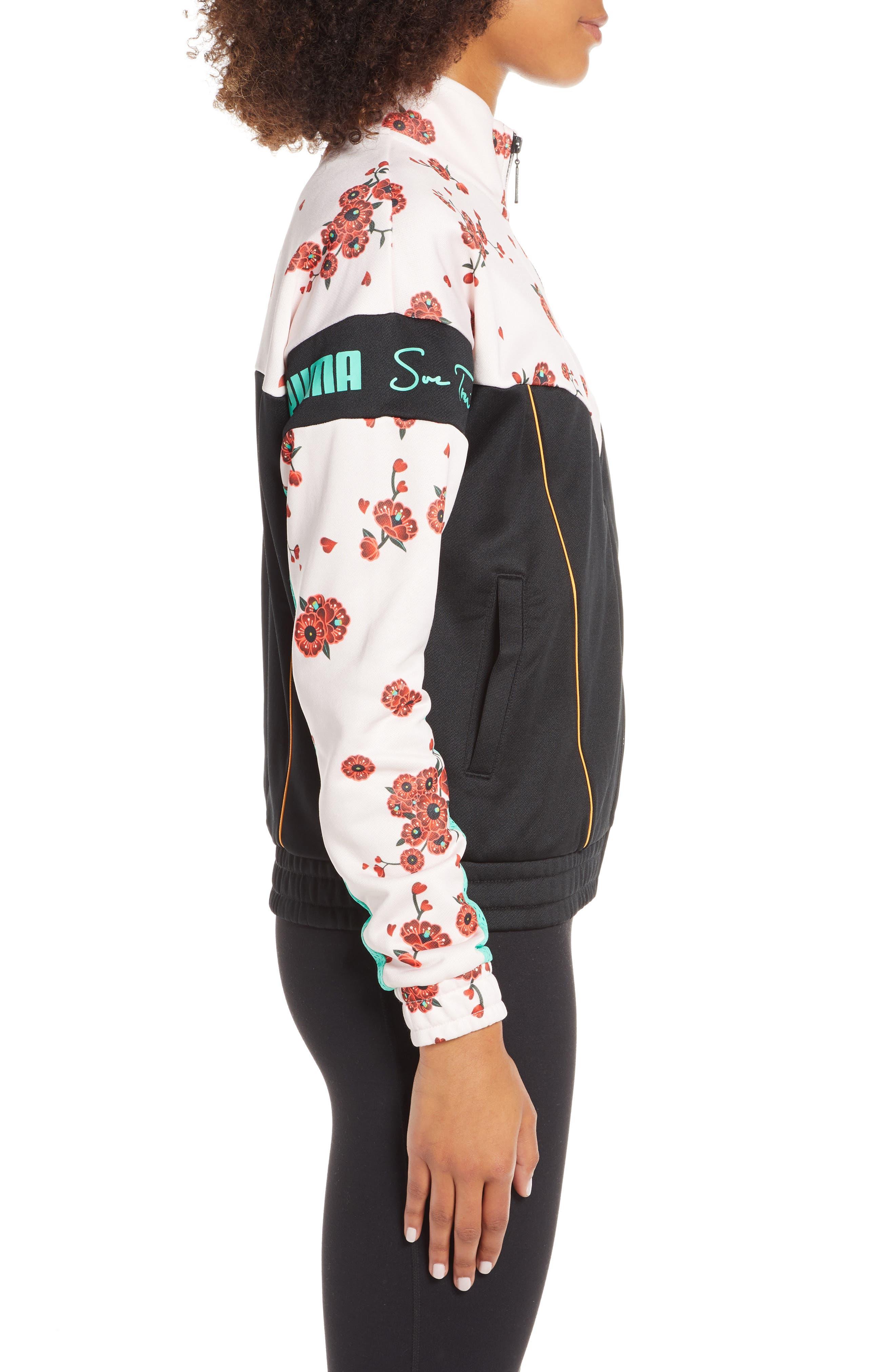 PUMA, x Sue Tsai XTG Floral Track Jacket, Alternate thumbnail 4, color, 300