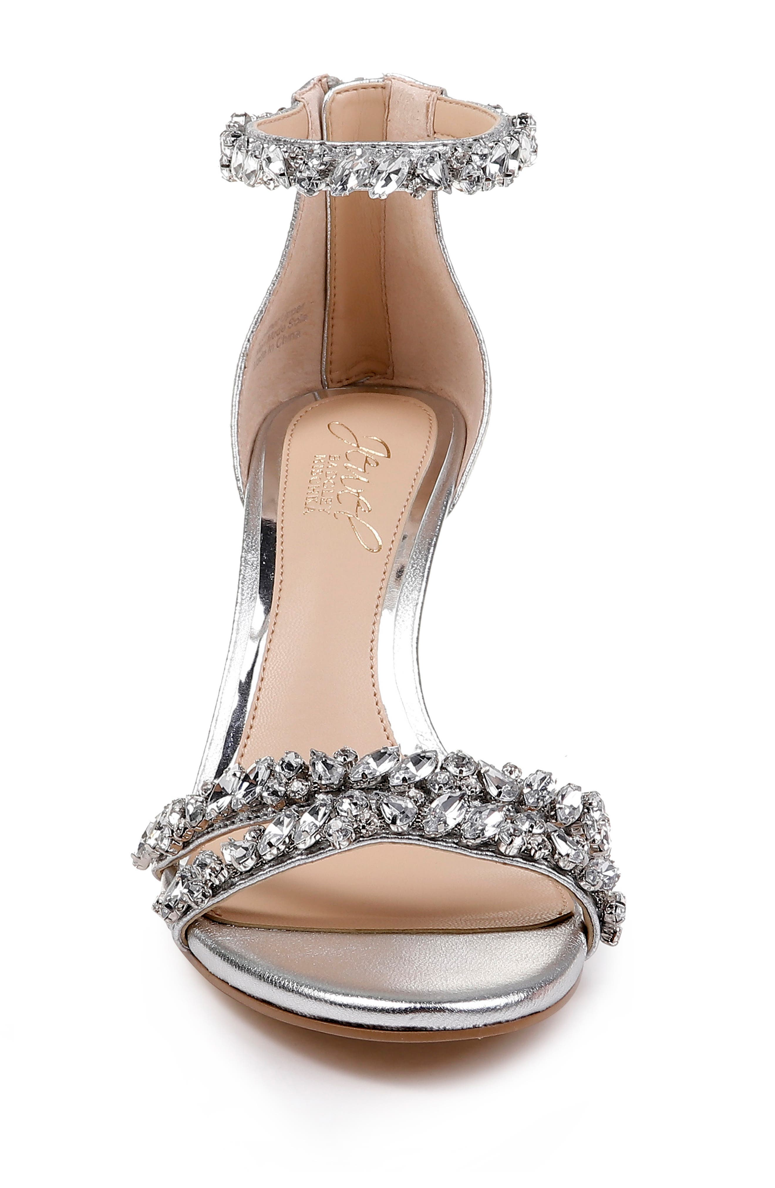 JEWEL BADGLEY MISCHKA, Darlene Embellished Ankle Strap Sandal, Alternate thumbnail 4, color, SILVER LEATHER