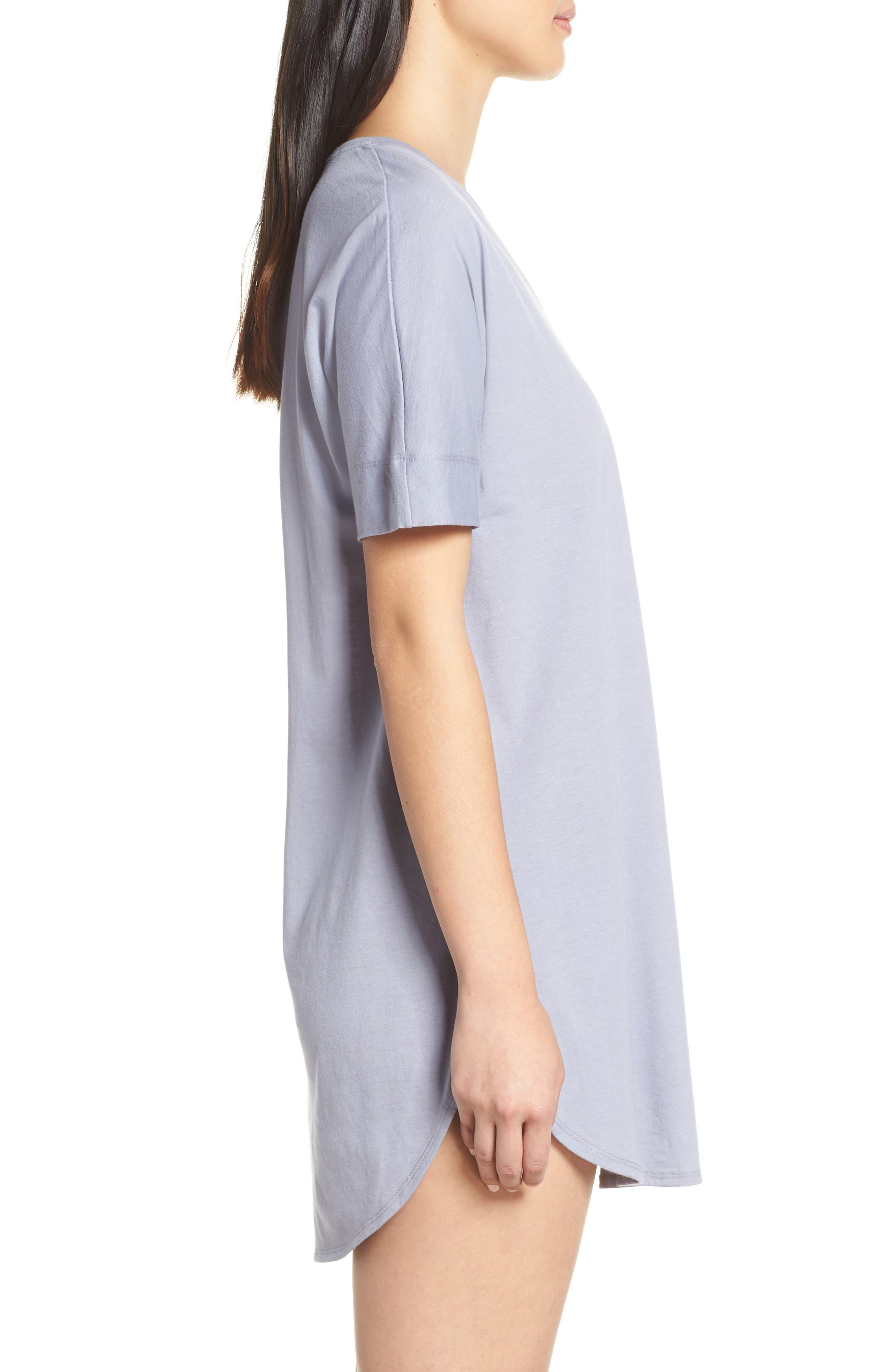 NATORI, V-Neck Sleep Shirt, Alternate thumbnail 3, color, SLATE BLUE