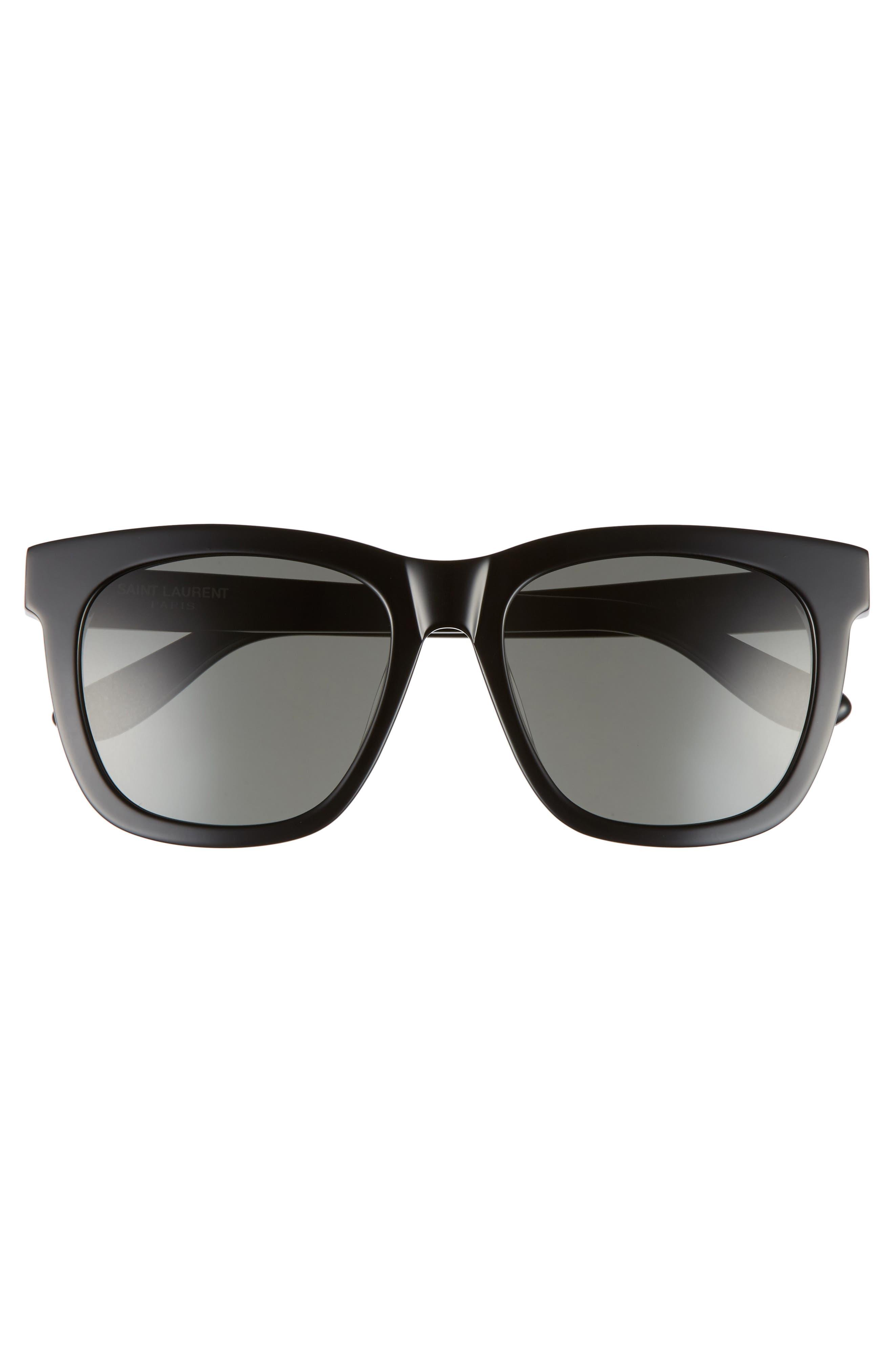 SAINT LAURENT, 55mm Sunglasses, Alternate thumbnail 3, color, BLACK