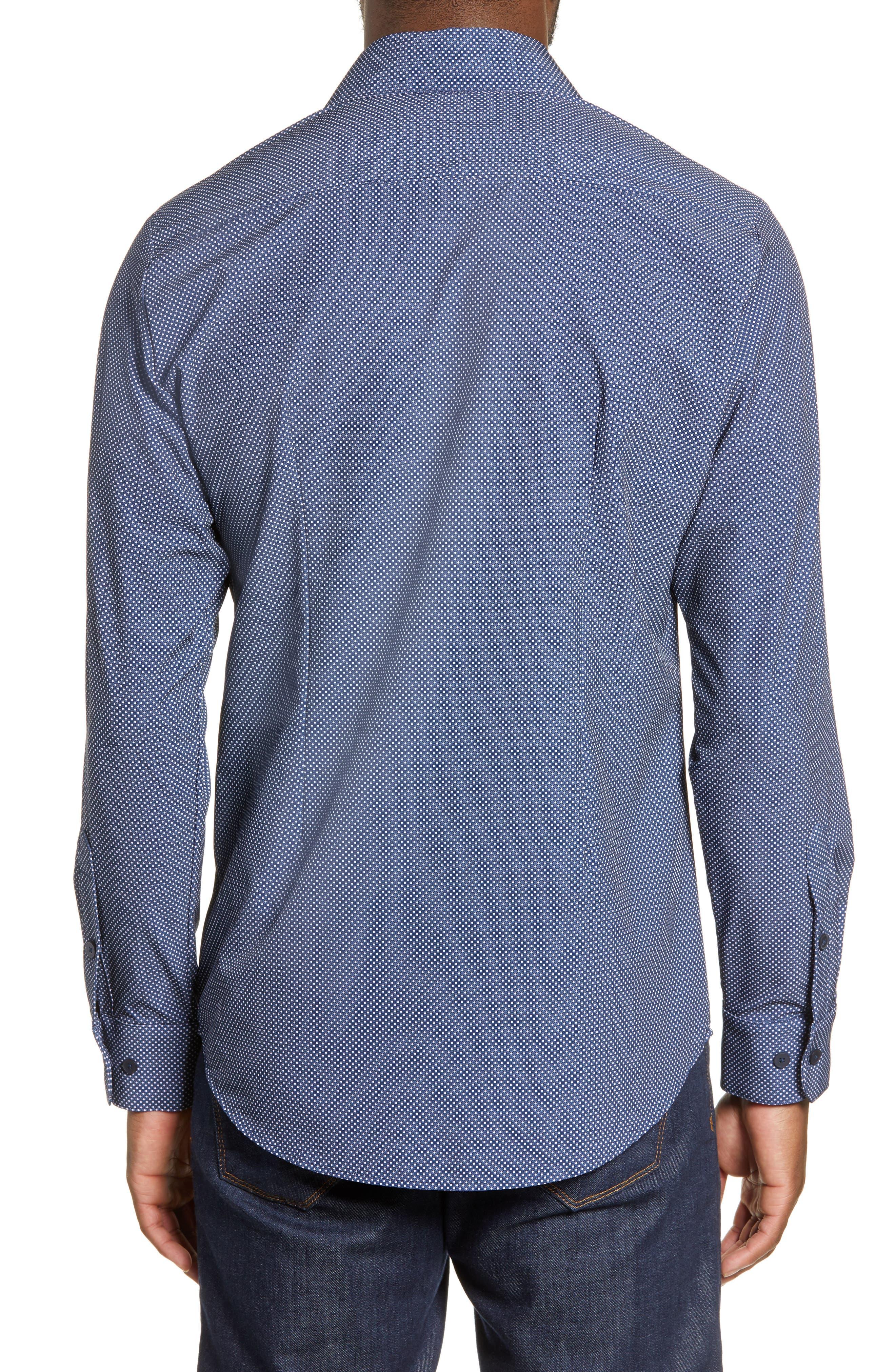 MIZZEN+MAIN, Murray Trim Fit Plaid Performance Sport Shirt, Alternate thumbnail 3, color, NAVY