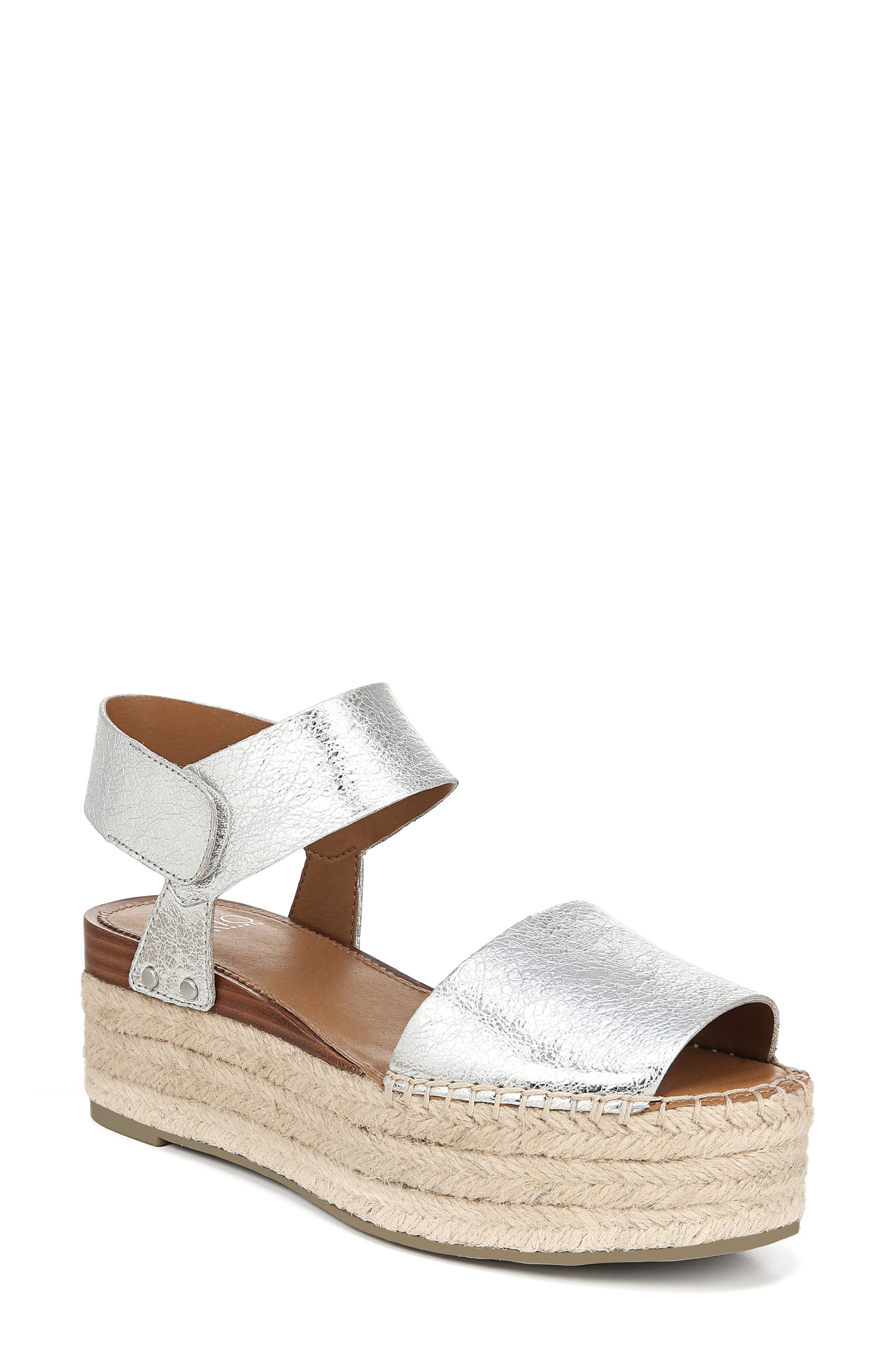 SARTO BY FRANCO SARTO Leo Platform Espadrille Sandal, Main, color, SILVER LEATHER