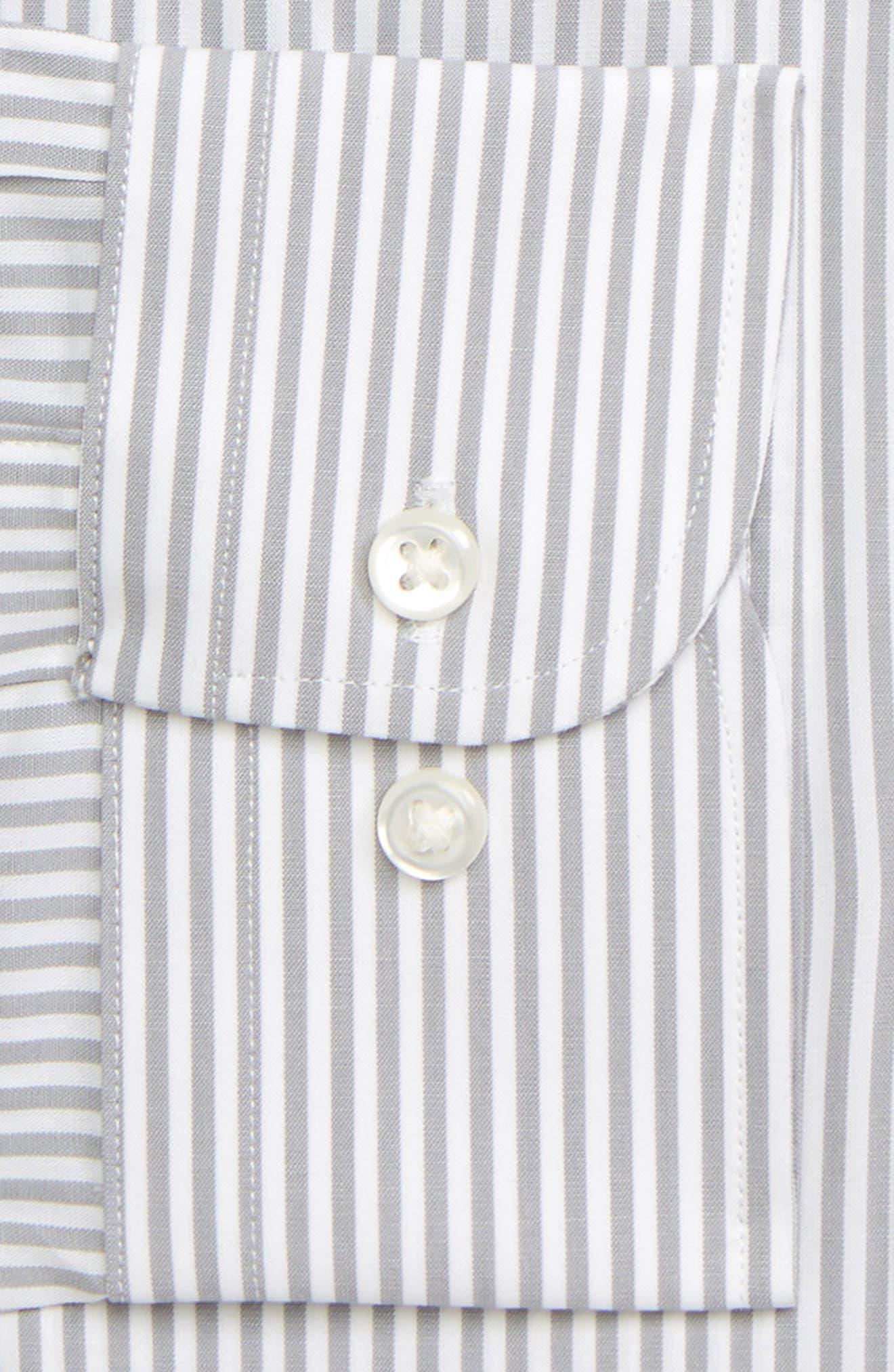 NORDSTROM MEN'S SHOP, Tech-Smart Classic Fit Stretch Stripe Dress Shirt, Alternate thumbnail 2, color, GREY SLEET