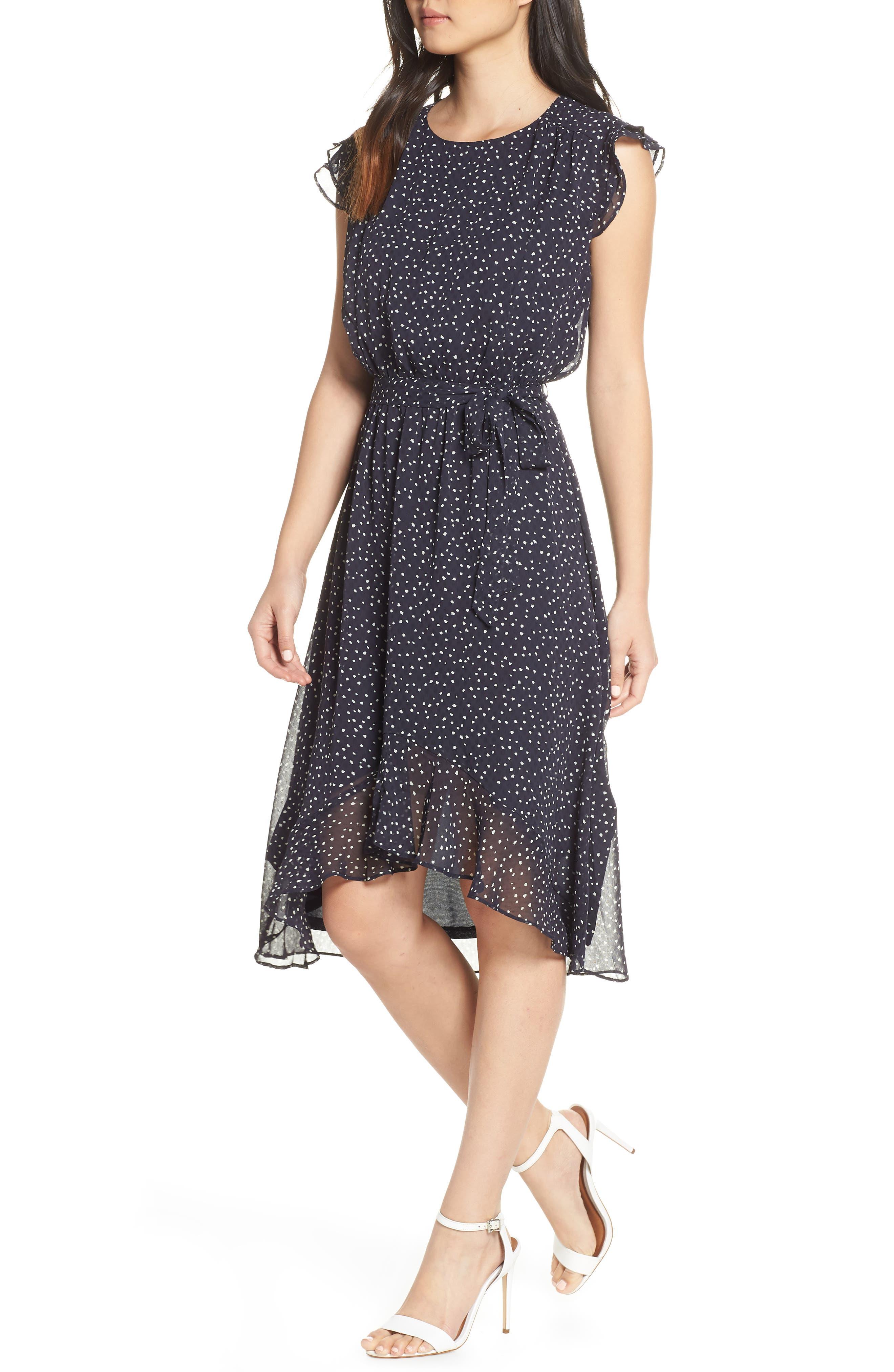 19 COOPER, Polka Dot Ruffle Sleeve Chiffon Dress, Main thumbnail 1, color, 400