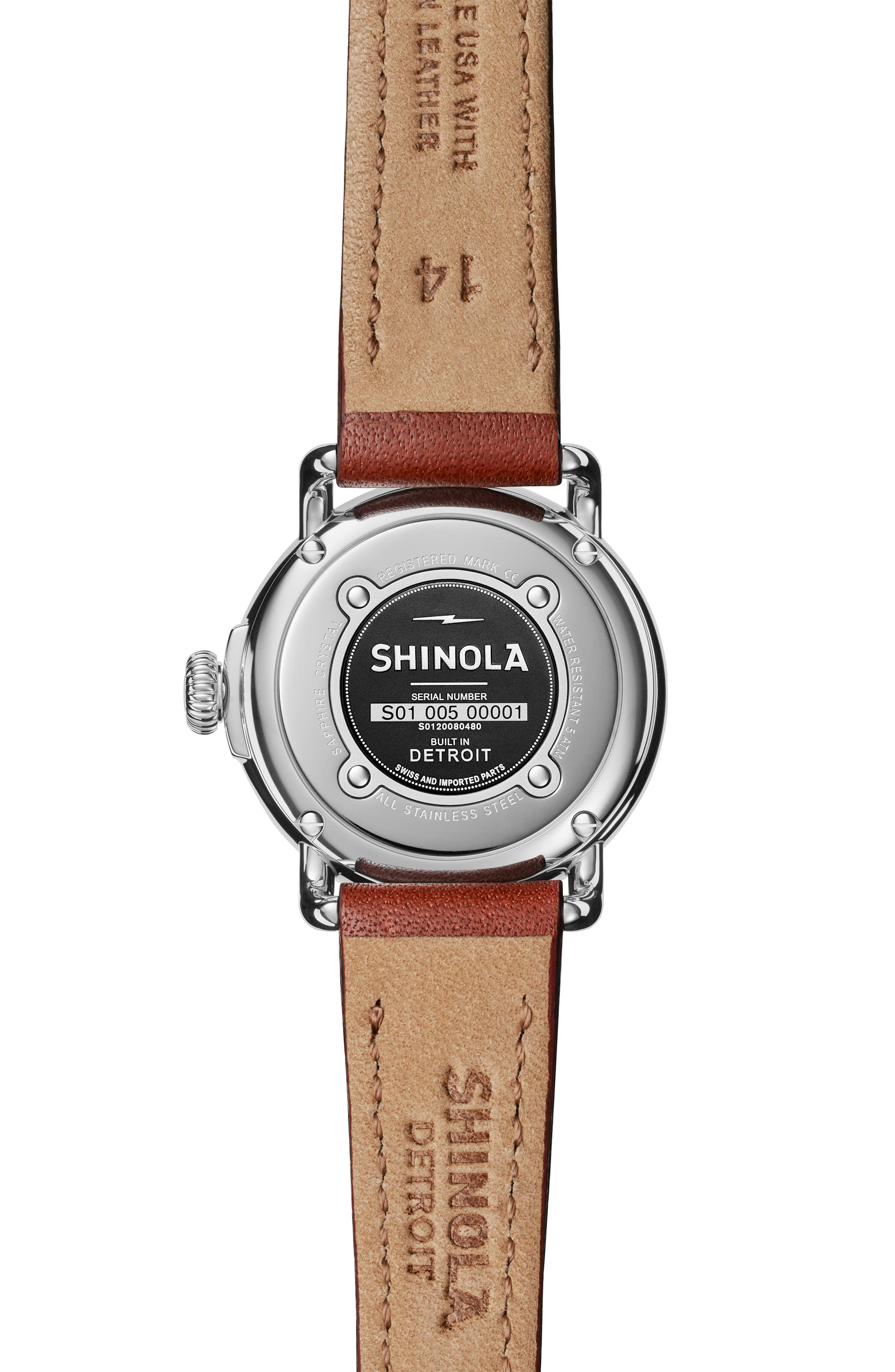 SHINOLA, The Runwell Leather Strap Watch, 28mm, Alternate thumbnail 2, color, DARK COGNAC/ WHITE/ SILVER