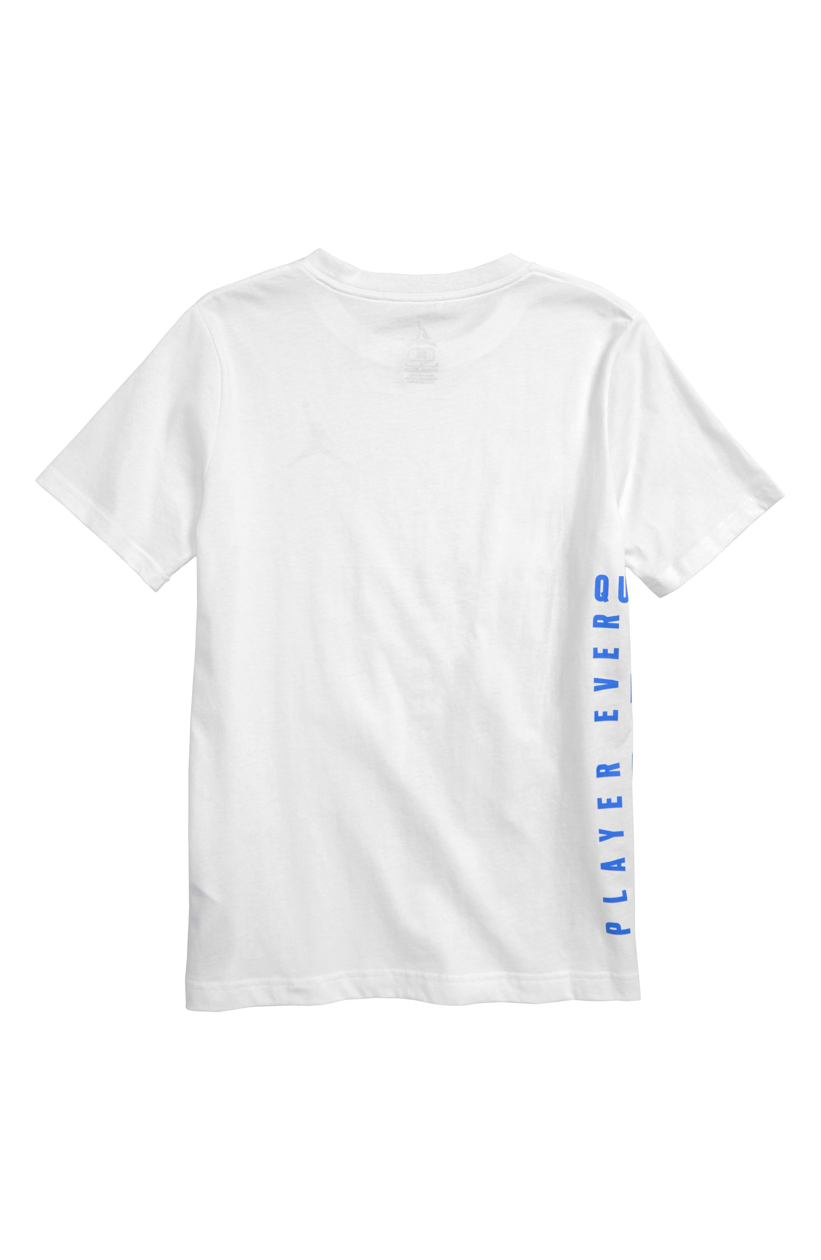 JORDAN, Wings Spin Graphic T-Shirt, Alternate thumbnail 2, color, WHITE