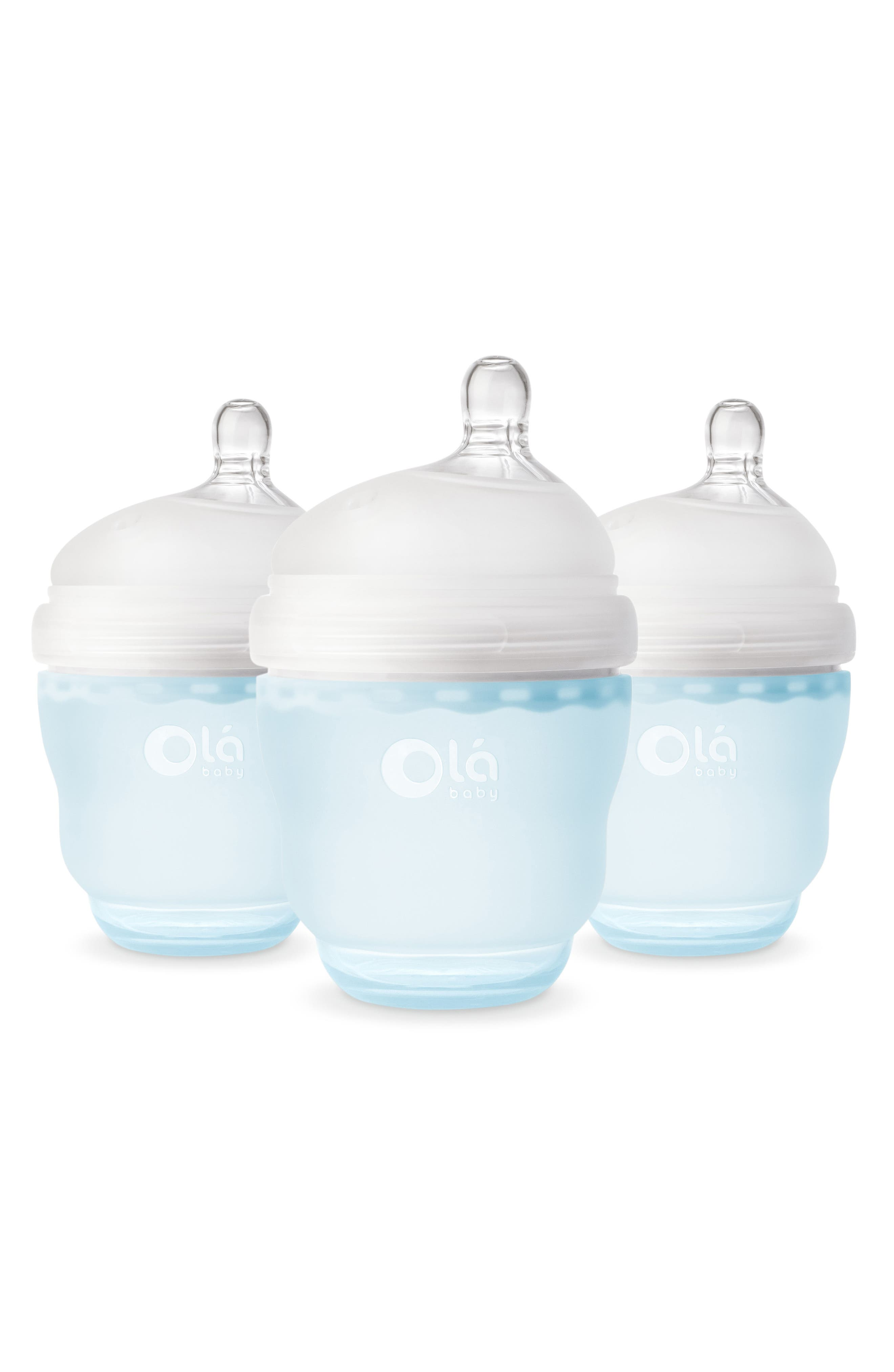 OLABABY 3-Pack GentleBottle 4-Ounce Baby Bottles, Main, color, SKY