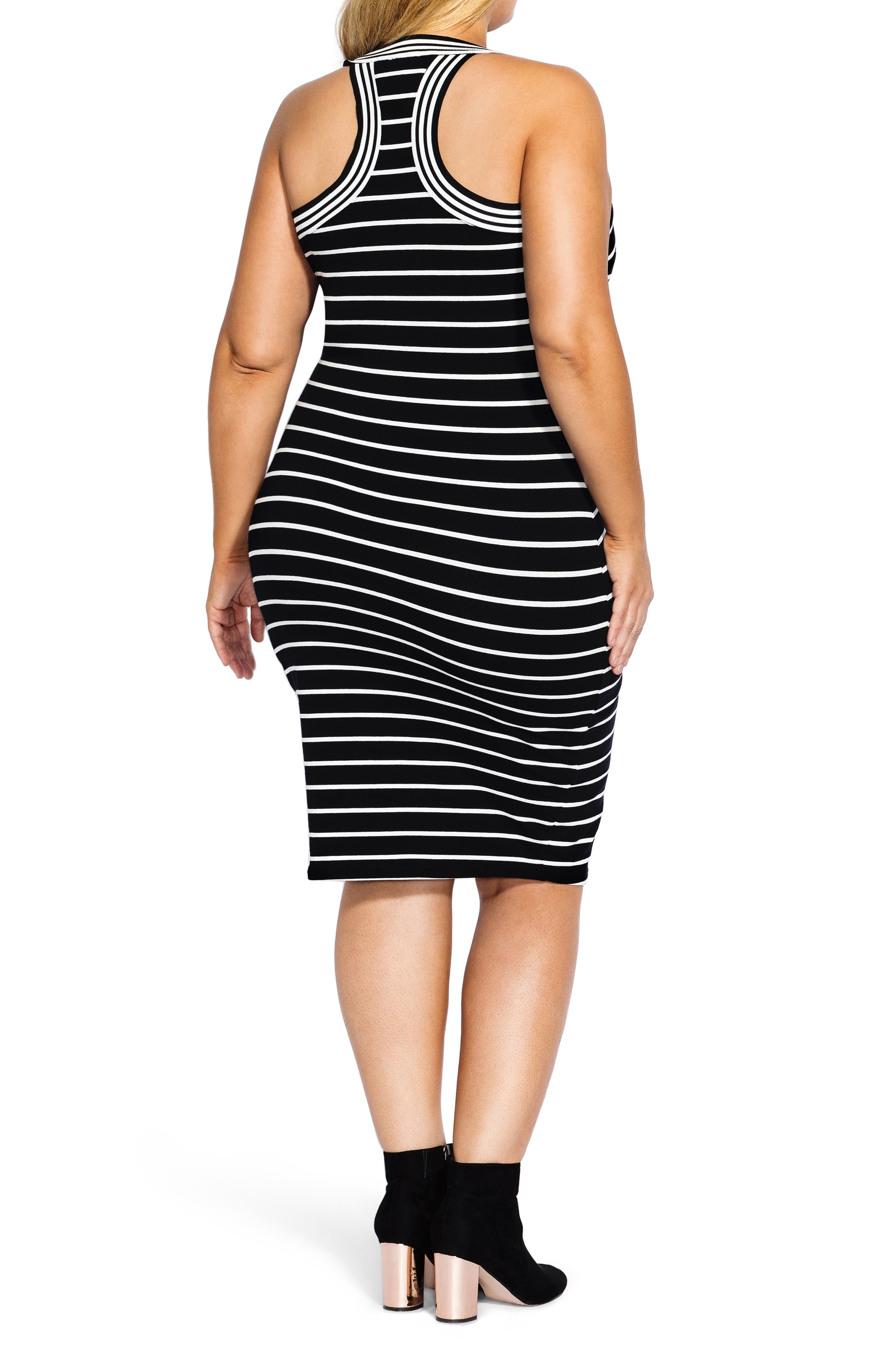CITY CHIC, Stripe Racerback Dress, Alternate thumbnail 2, color, WHITE STRIPE