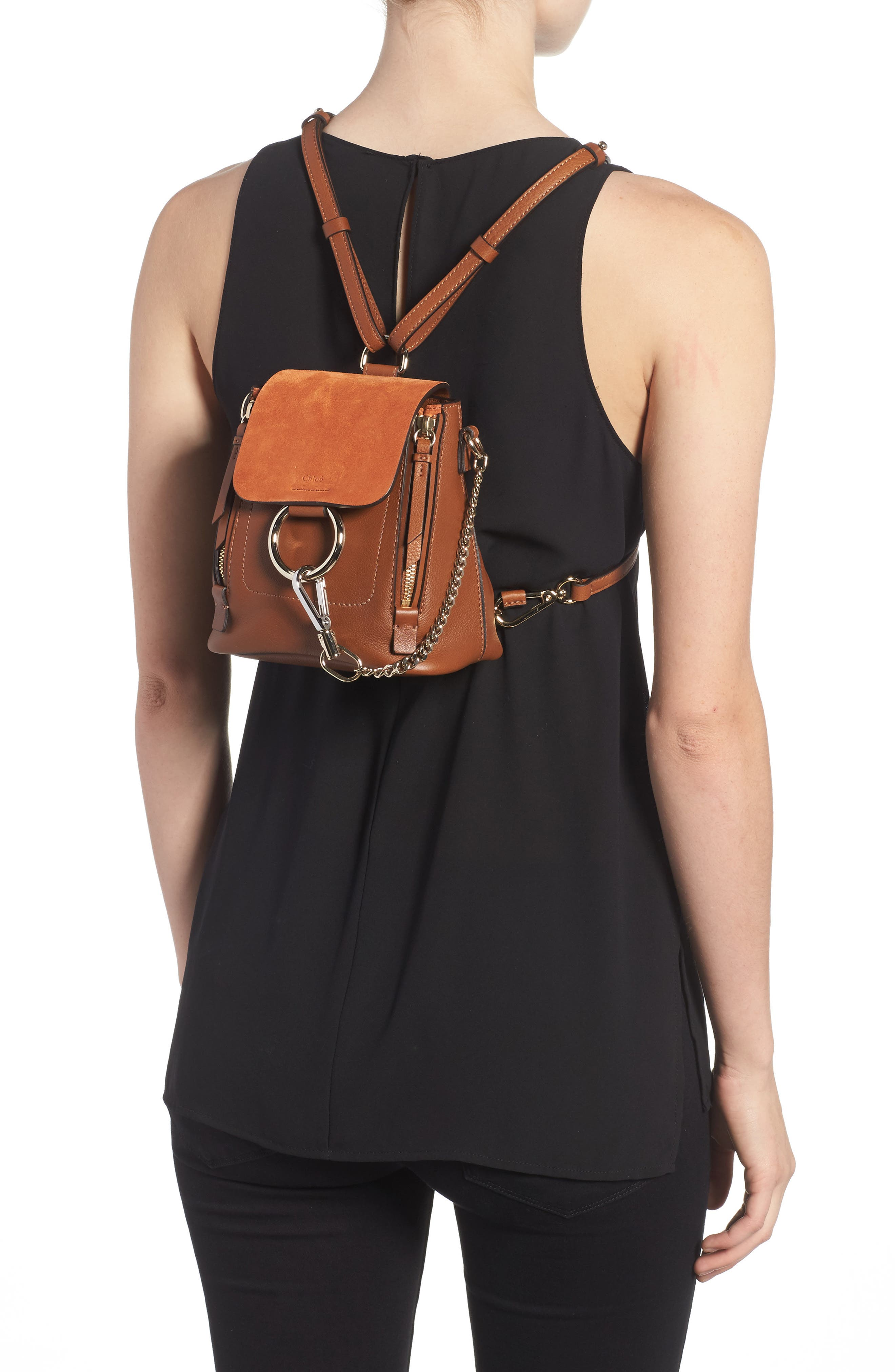 CHLOÉ, Mini Faye Leather & Suede Backpack, Alternate thumbnail 2, color, TAN