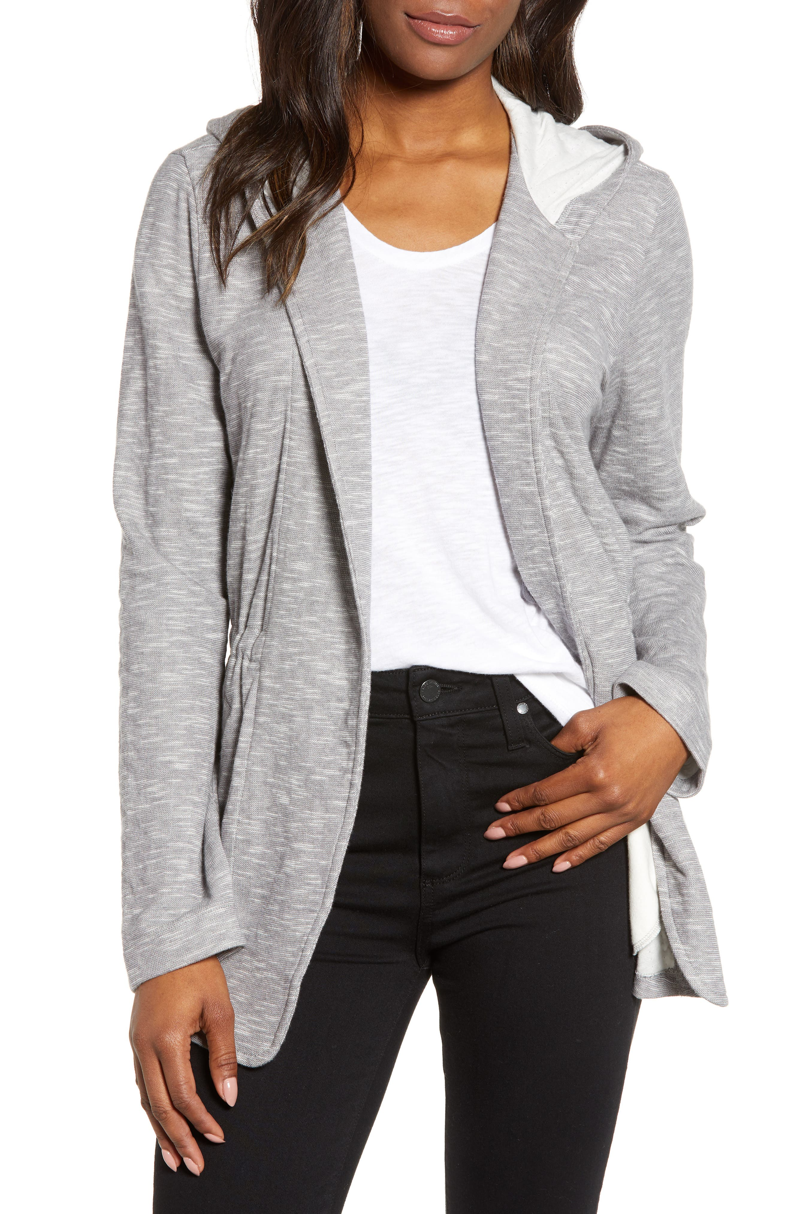 CASLON<SUP>®</SUP> Open Front Hooded Cardigan, Main, color, GREY- IVORY SPACEDYE