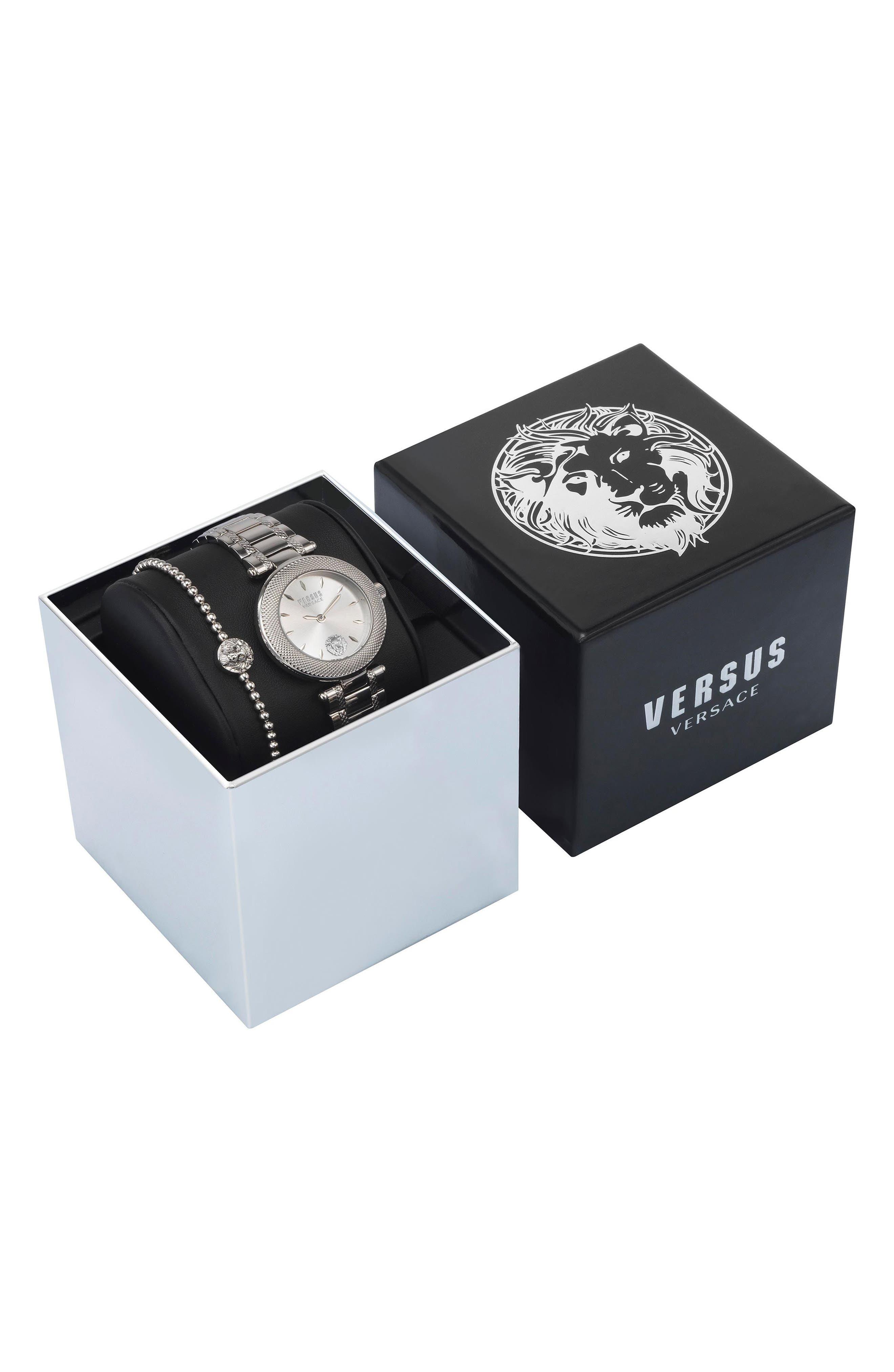 VERSUS VERSACE, Bricklane Watch Set, 36mm, Alternate thumbnail 3, color, SILVER