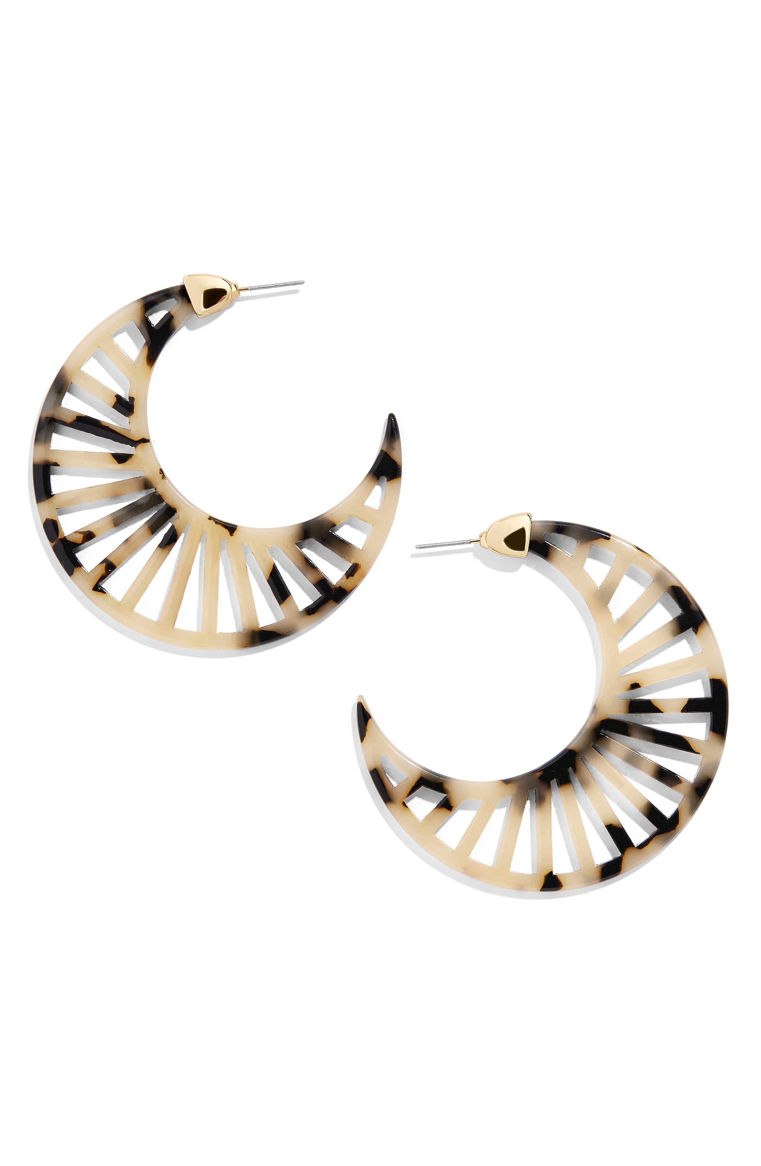 BAUBLEBAR, Resin Crescent Moon Earrings, Main thumbnail 1, color, TORTOISE