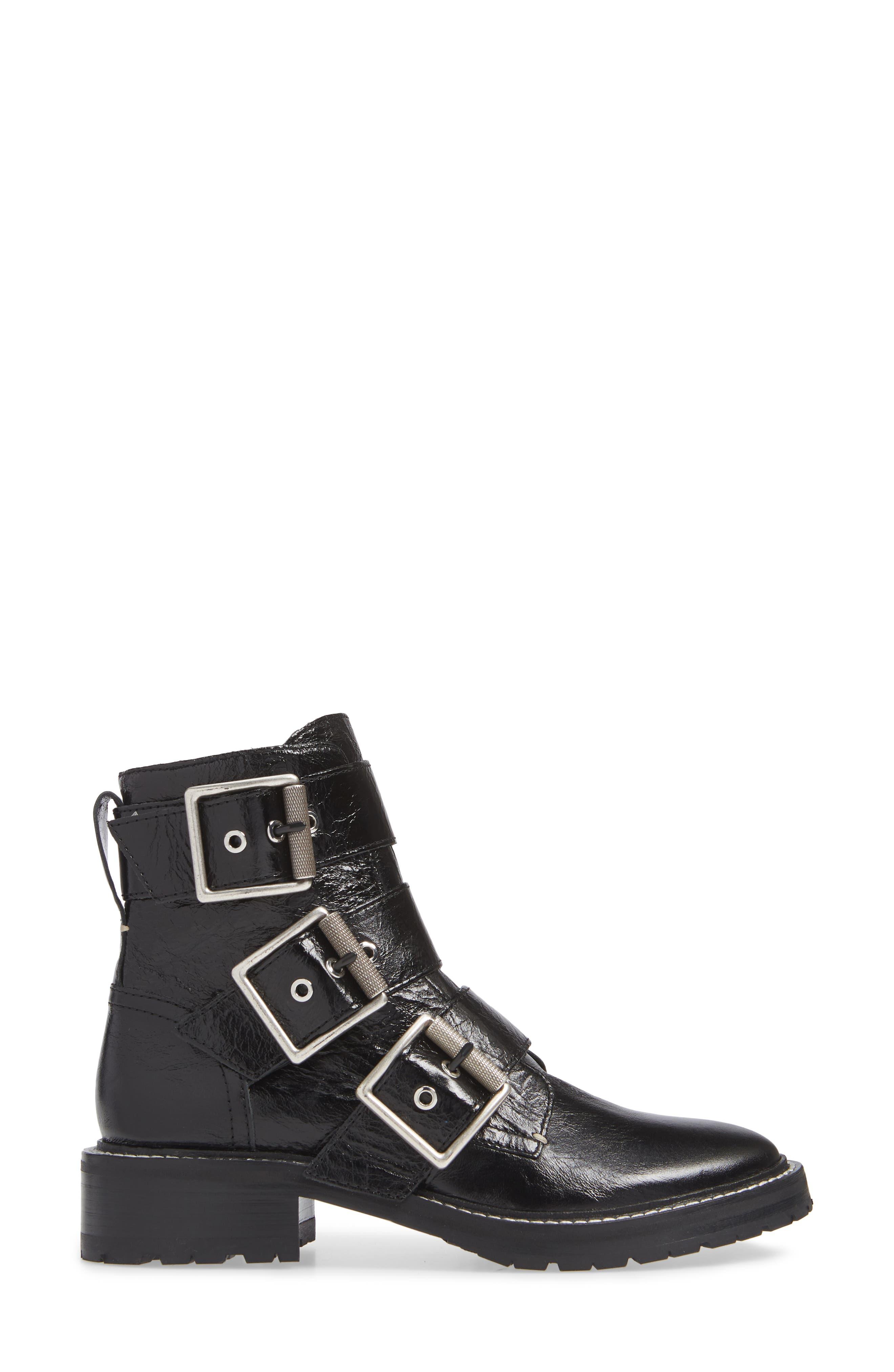 RAG & BONE, Cannon Buckle Moto Boot, Alternate thumbnail 3, color, BLACK