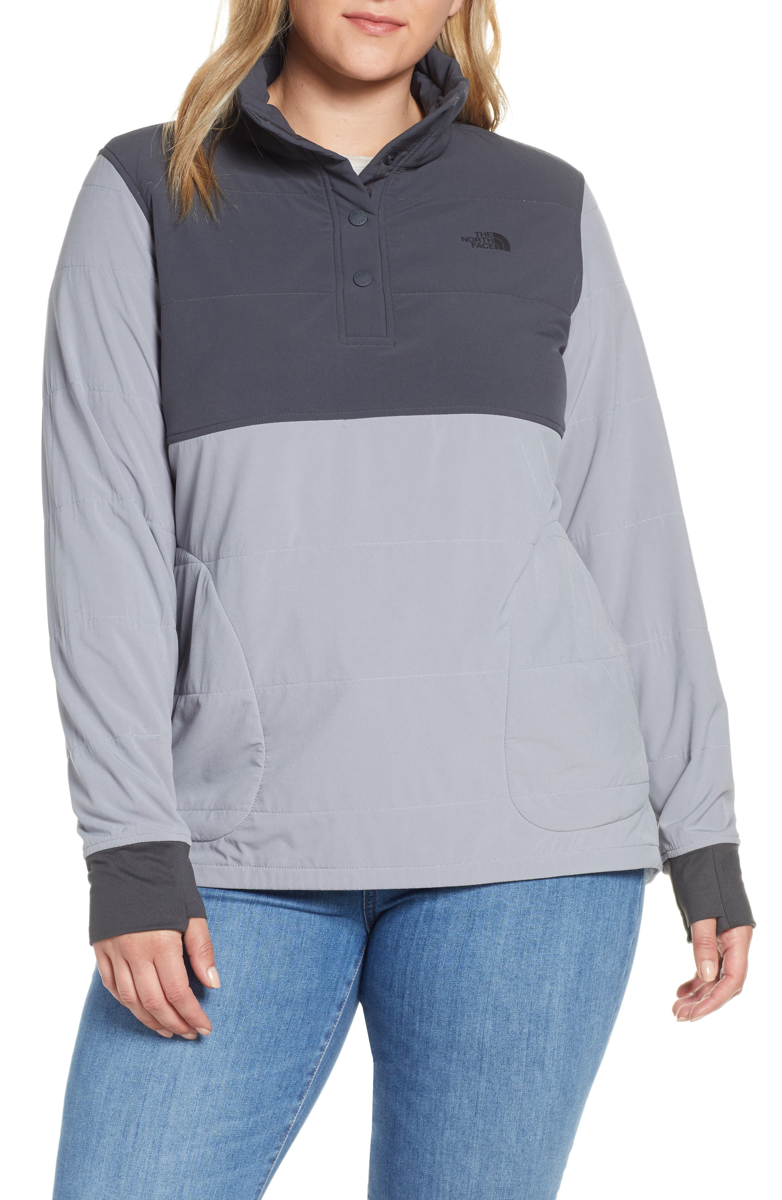 THE NORTH FACE, Mountain Insulated Snap Pullover Jacket, Main thumbnail 1, color, GREY/ MID GREY