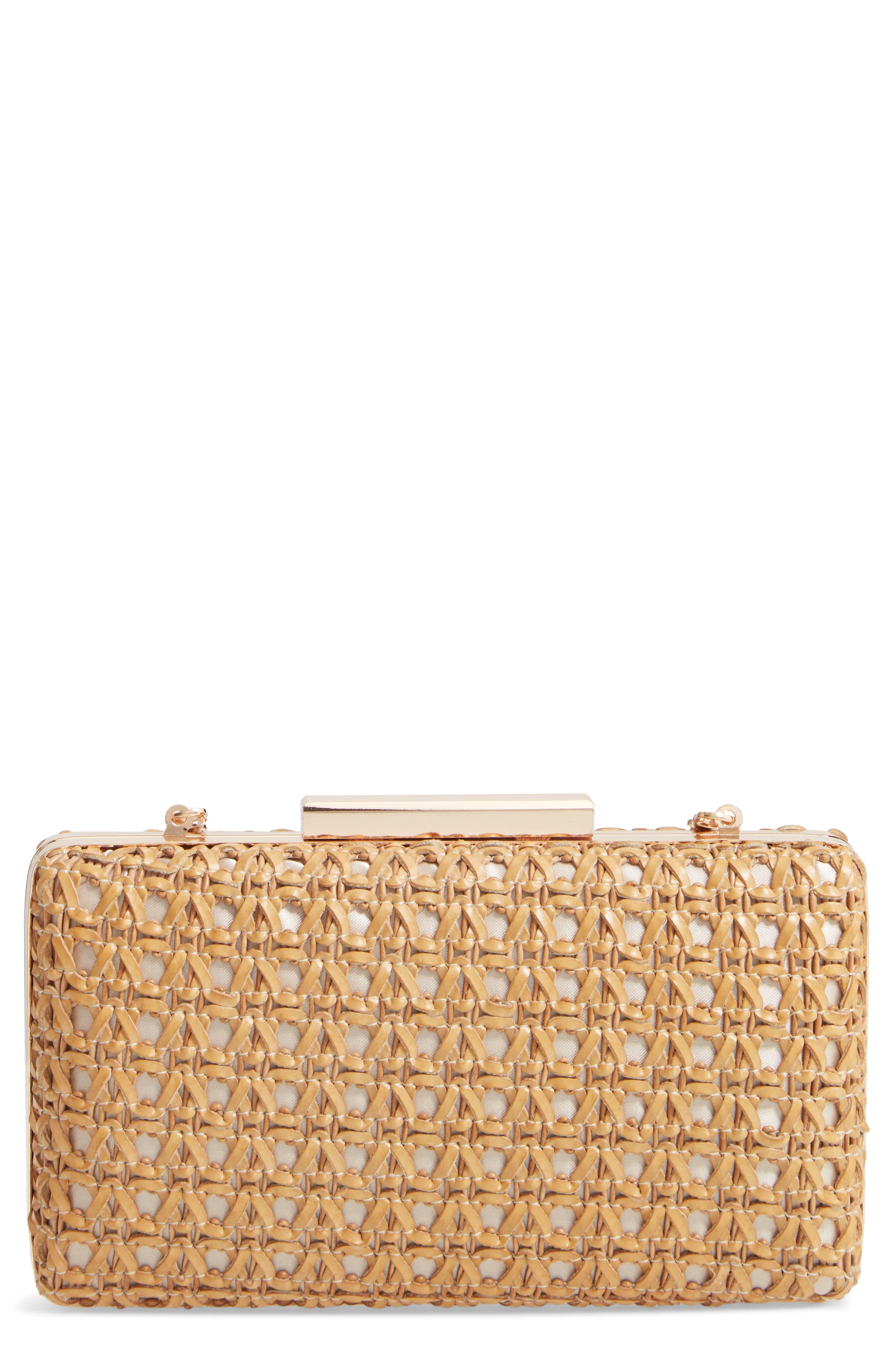 MALI + LILI Adalynn Woven Minaudiere Crossbody Bag, Main, color, GOLD/ COGNAC