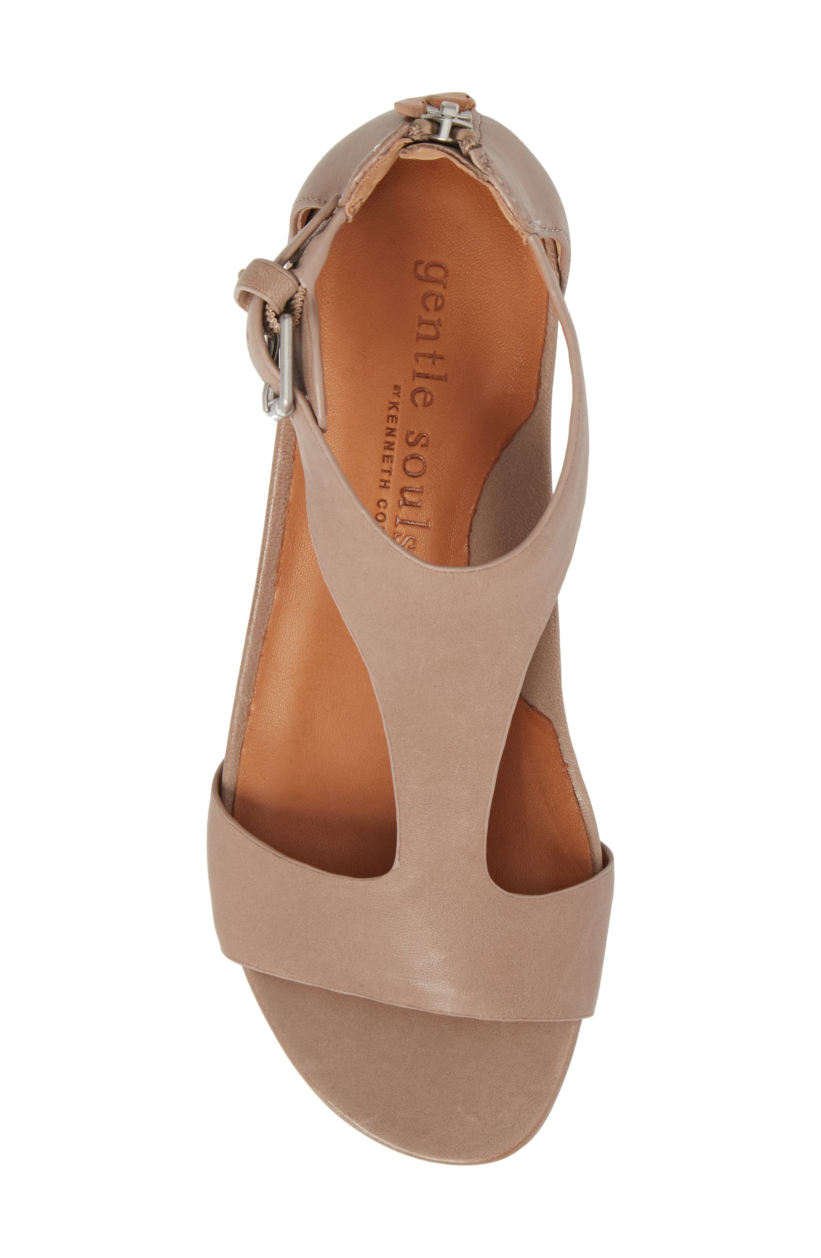 GENTLE SOULS BY KENNETH COLE, Gisele Wedge Sandal, Alternate thumbnail 5, color, PUTTY LEATHER