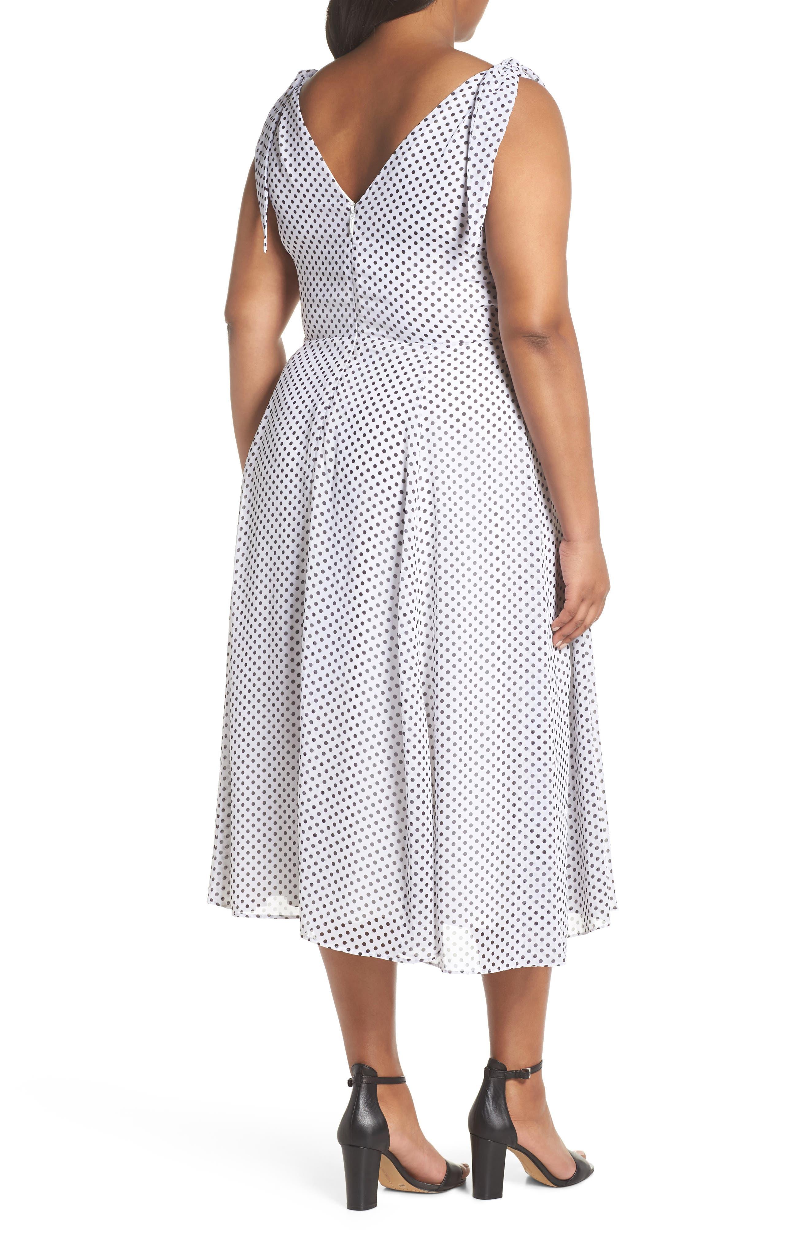 CITY CHIC, Alika Dot Fit & Flare Dress, Alternate thumbnail 2, color, IVORY