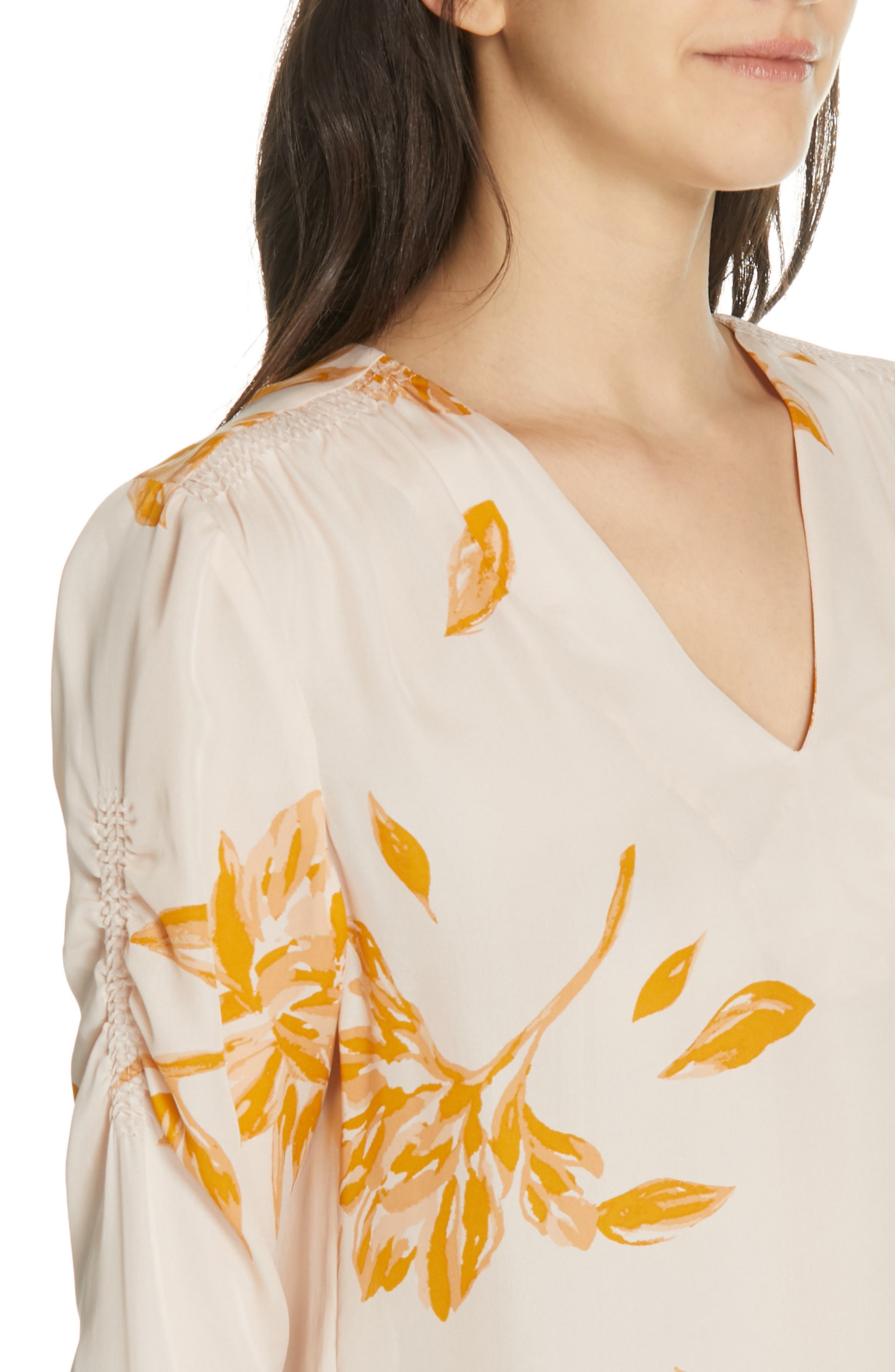 JOIE, Galvin Floral Silk Top, Alternate thumbnail 4, color, SHIMMER