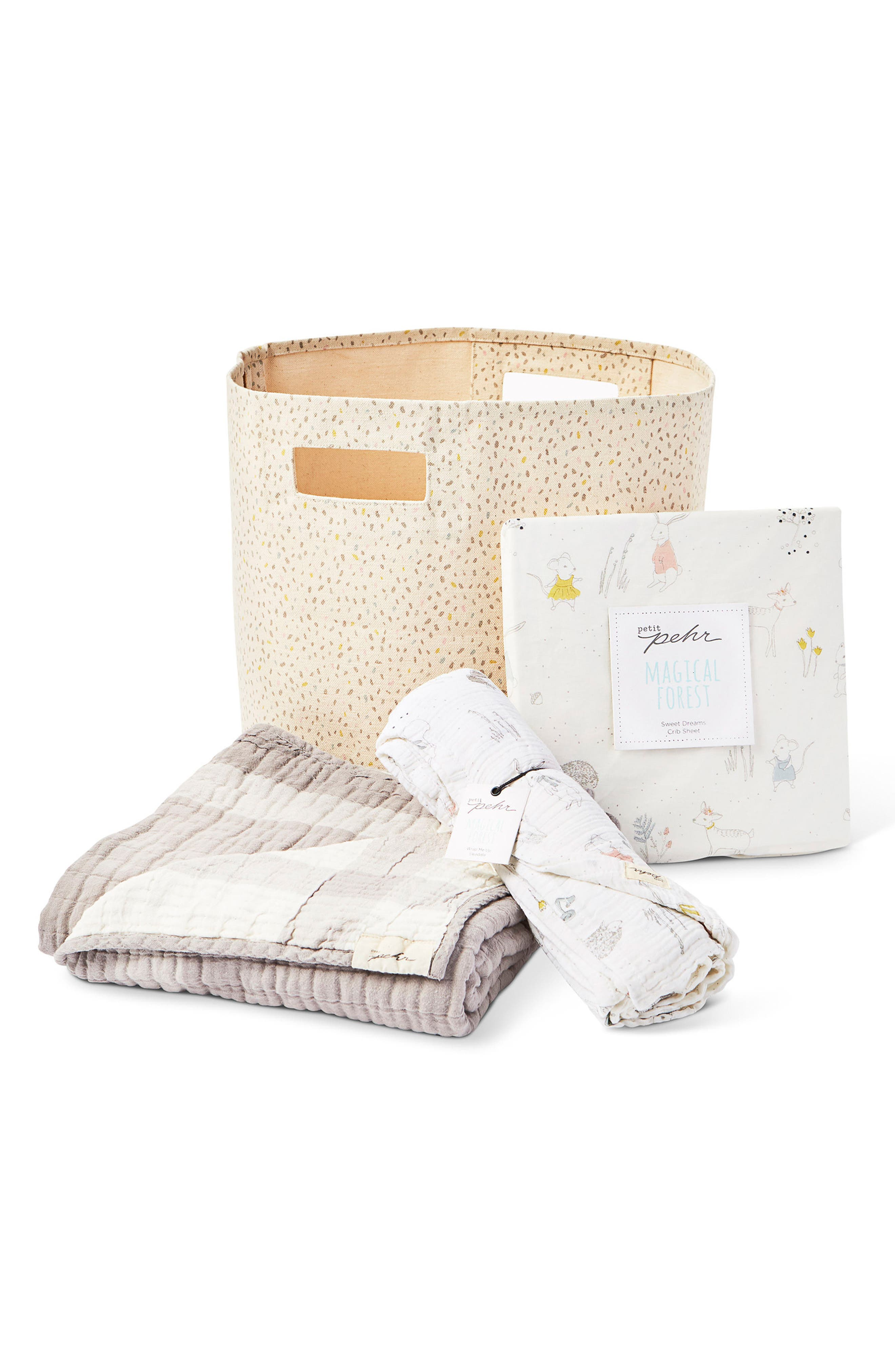 PEHR, Magical Forest Blanket, Crib Sheet, Swaddle & Bin Set, Main thumbnail 1, color, IVORY