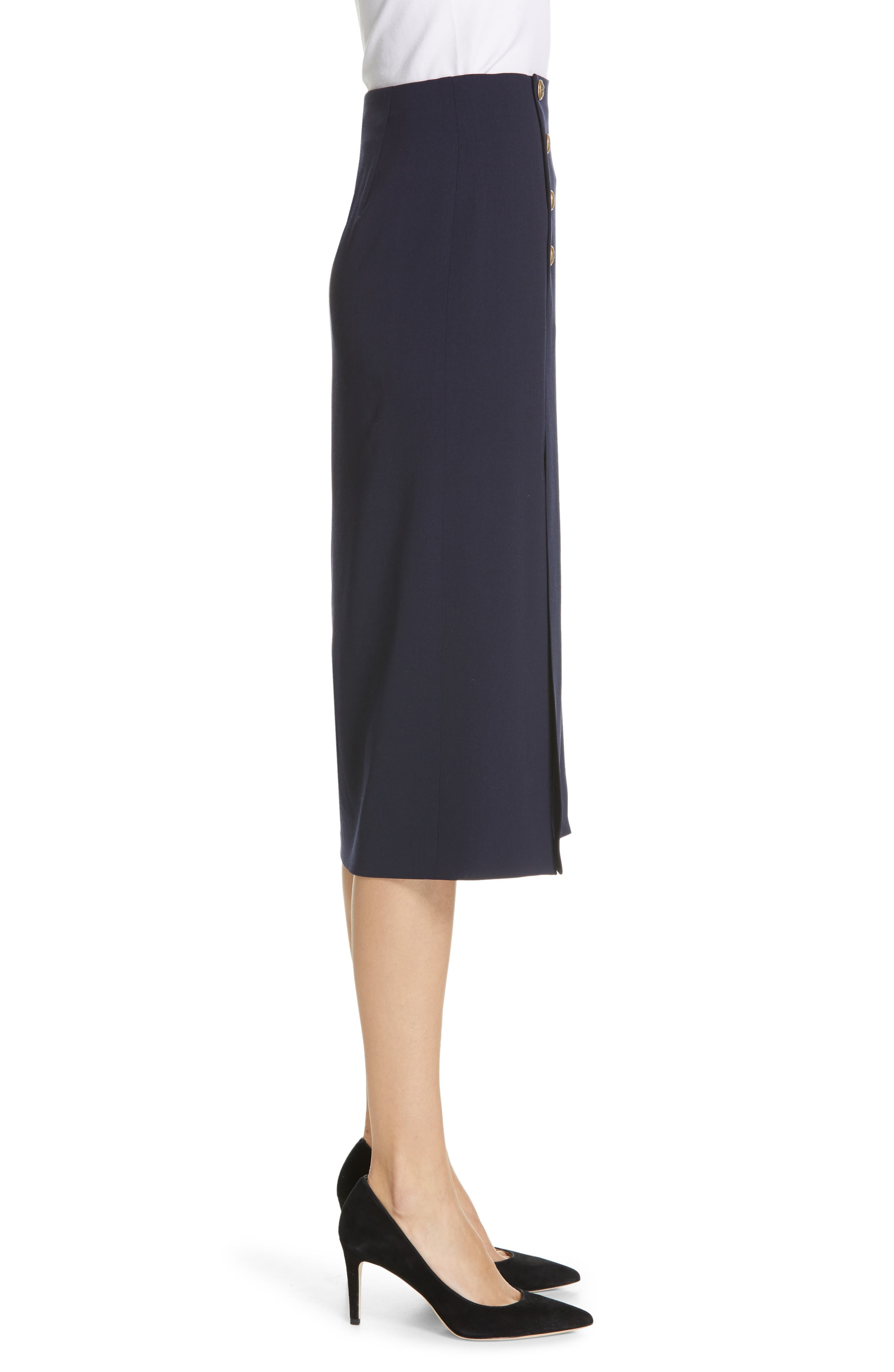 POLO RALPH LAUREN, A-Line Skirt, Alternate thumbnail 3, color, NAVY
