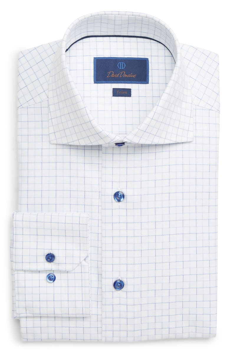 David Donahue Dresses TRIM FIT CHECK DRESS SHIRT