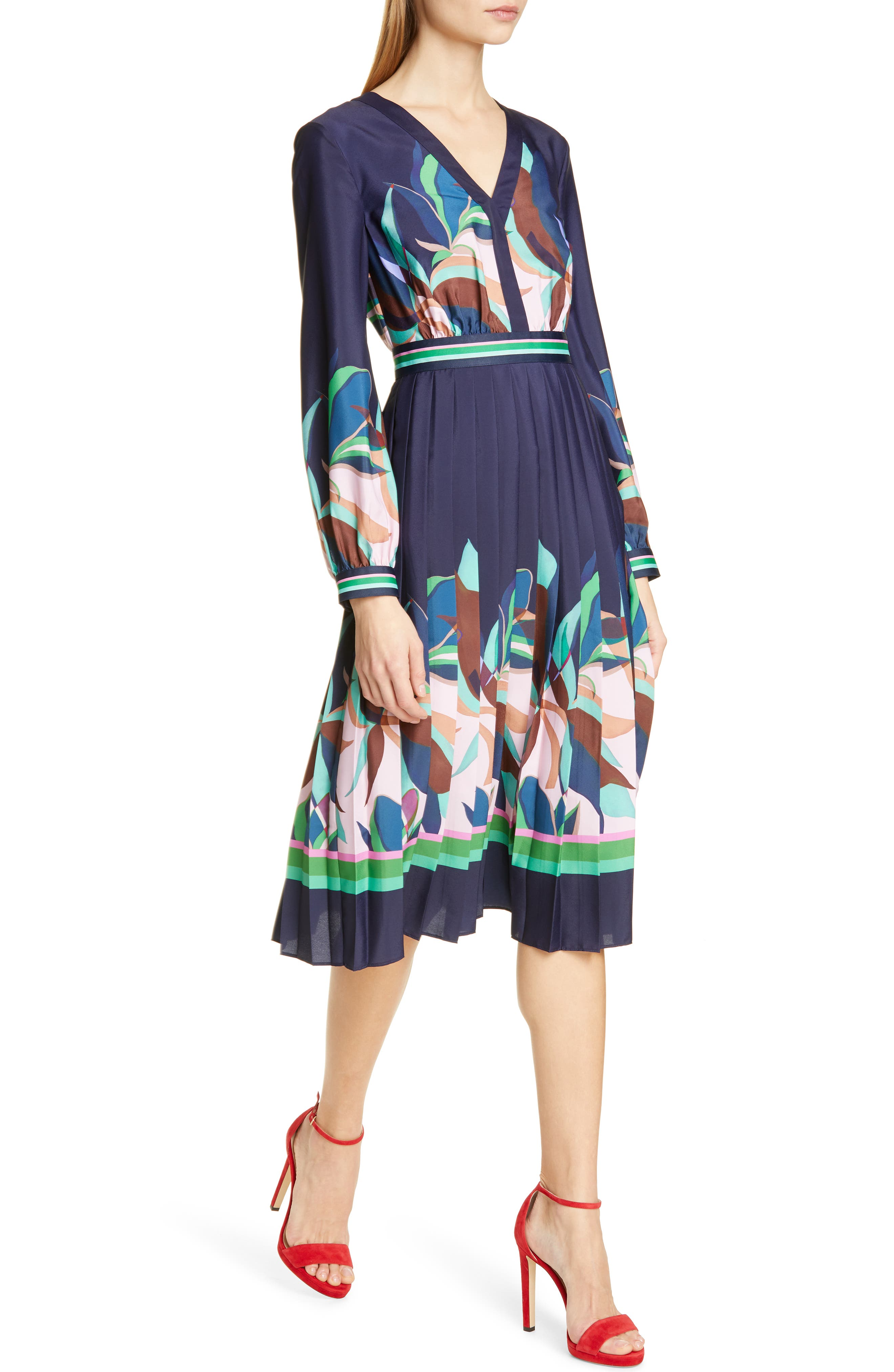 TED BAKER LONDON, Leonore Supernatural Fit & Flare Dress, Alternate thumbnail 4, color, NAVY