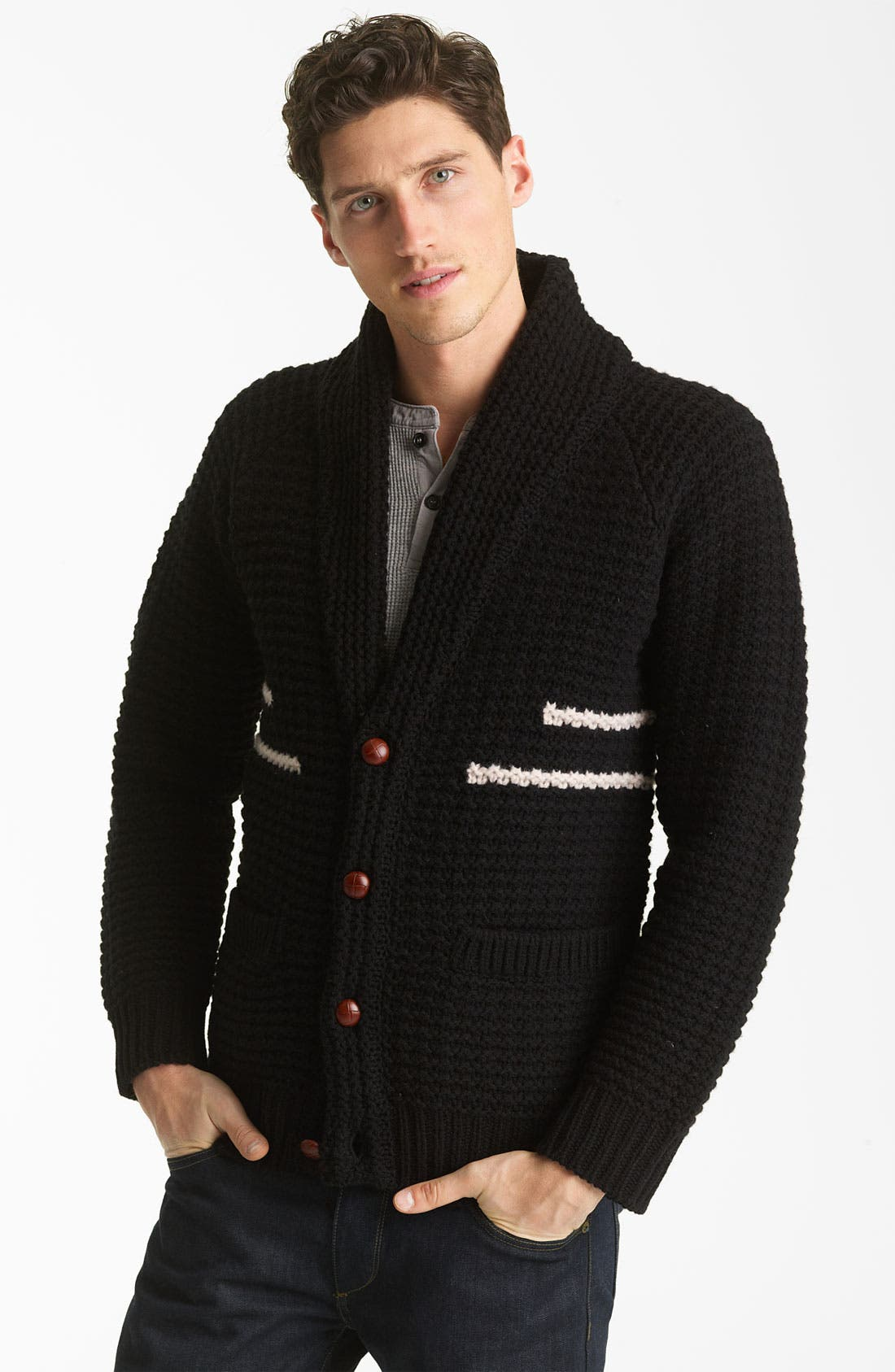 PENDLETON PORTLAND COLLECTION, 'Coos Curry' Lambswool Cardigan, Main thumbnail 1, color, 001