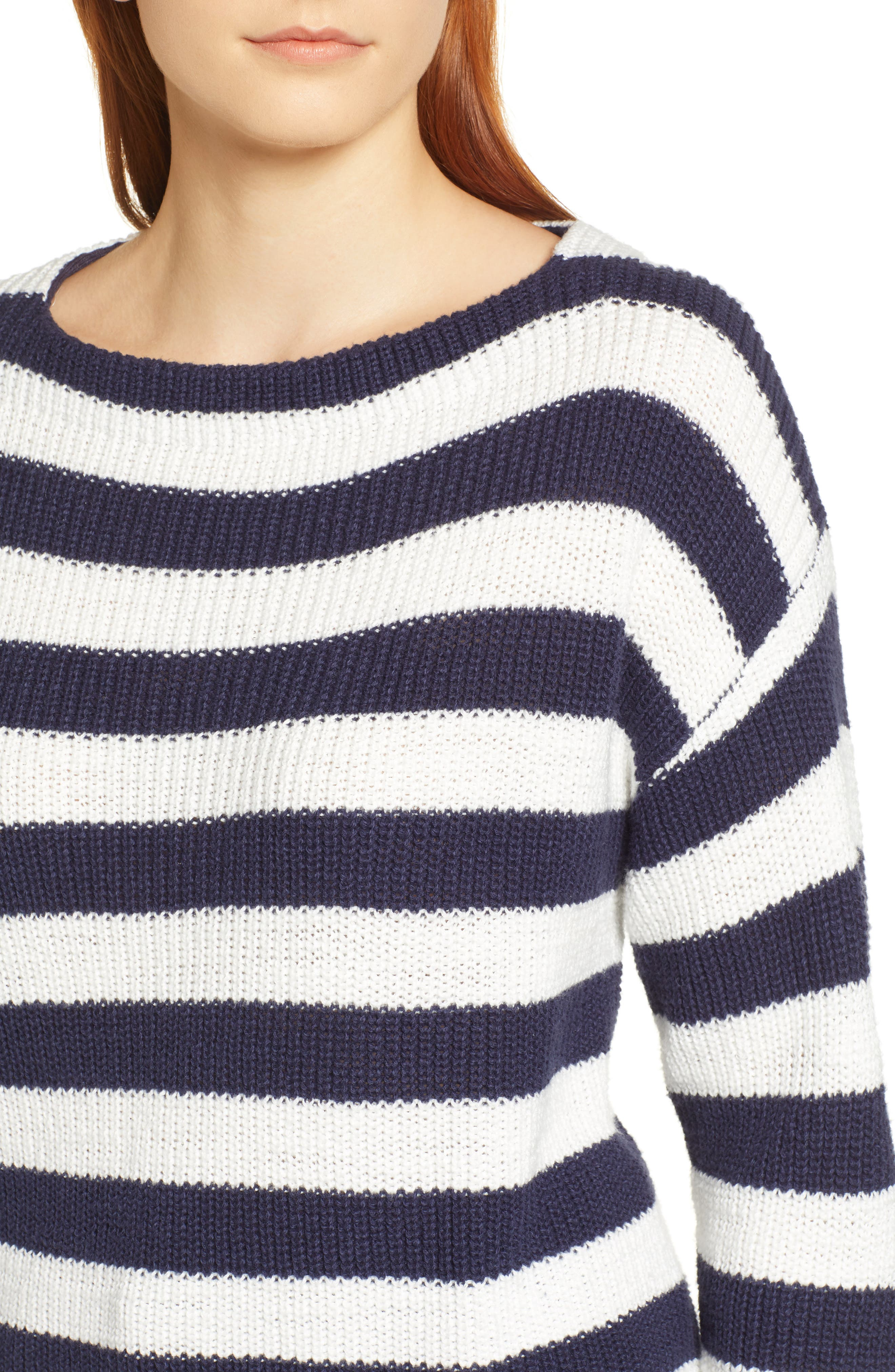 CASLON<SUP>®</SUP>, Boat Neck Pullover, Alternate thumbnail 4, color, NAVY STRIPE