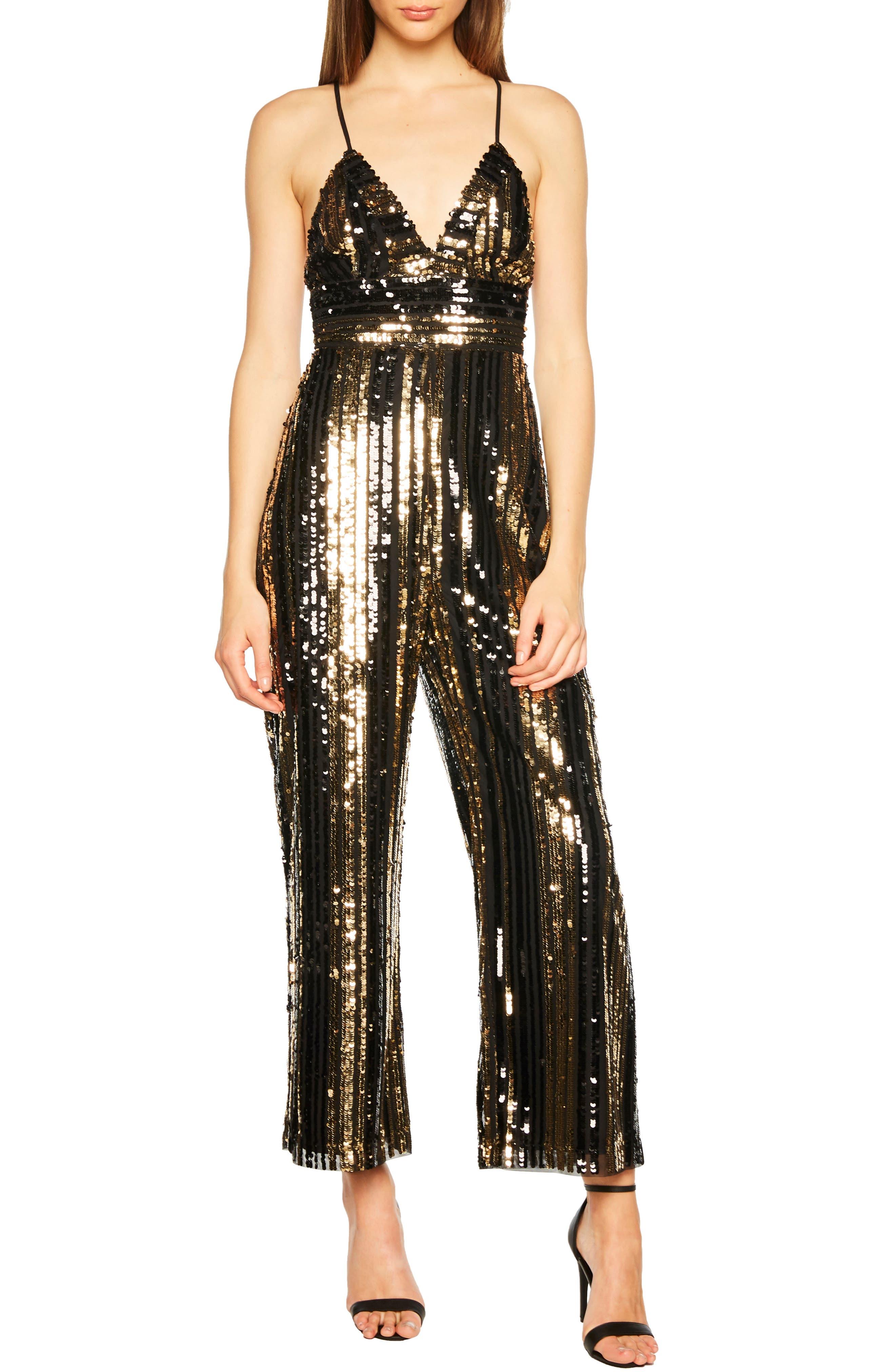 BARDOT, Goldie Sequin Stripe Jumpsuit, Main thumbnail 1, color, 001
