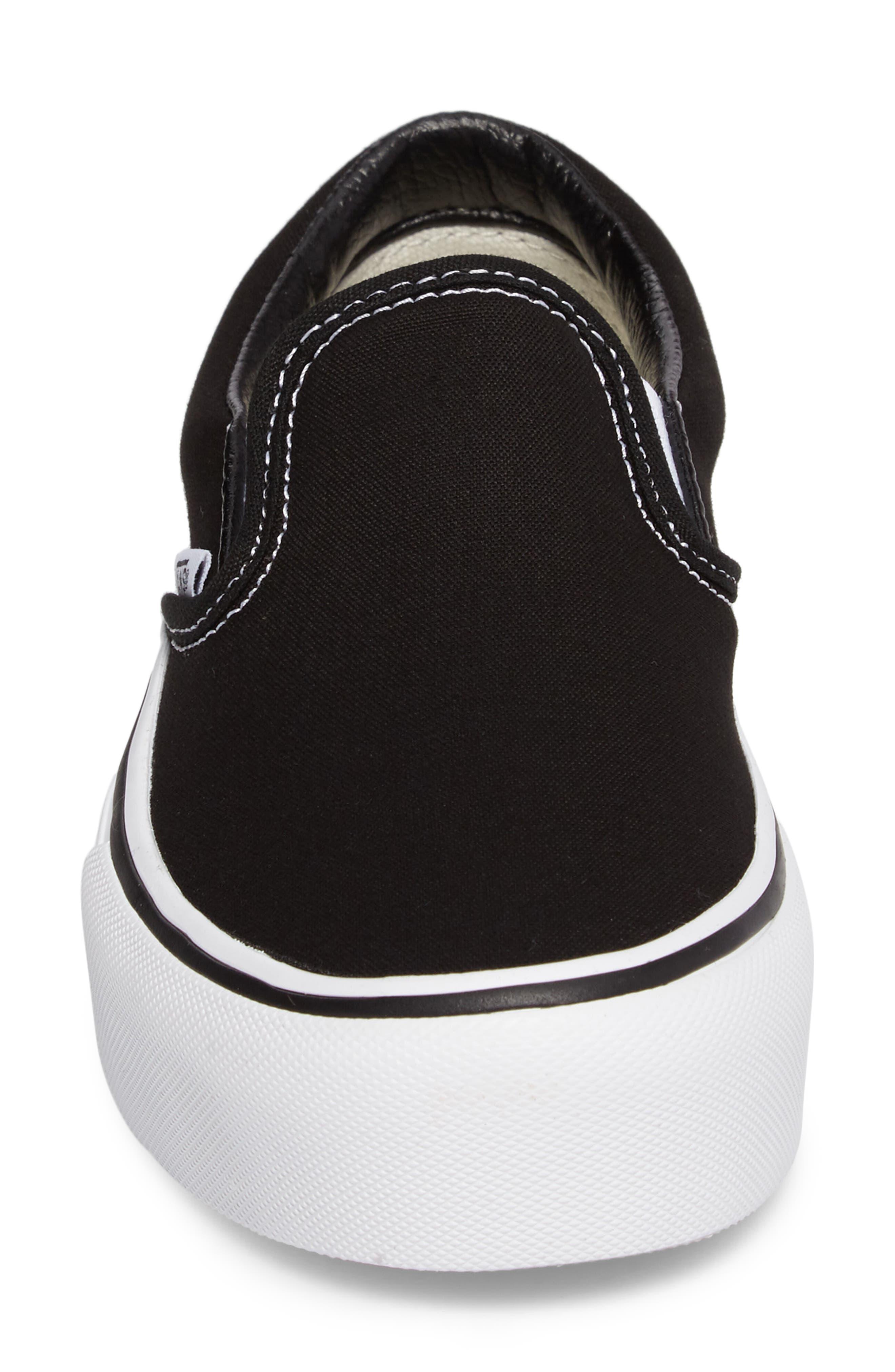 VANS, Platform Slip-On Sneaker, Alternate thumbnail 4, color, BLACK/ WHITE