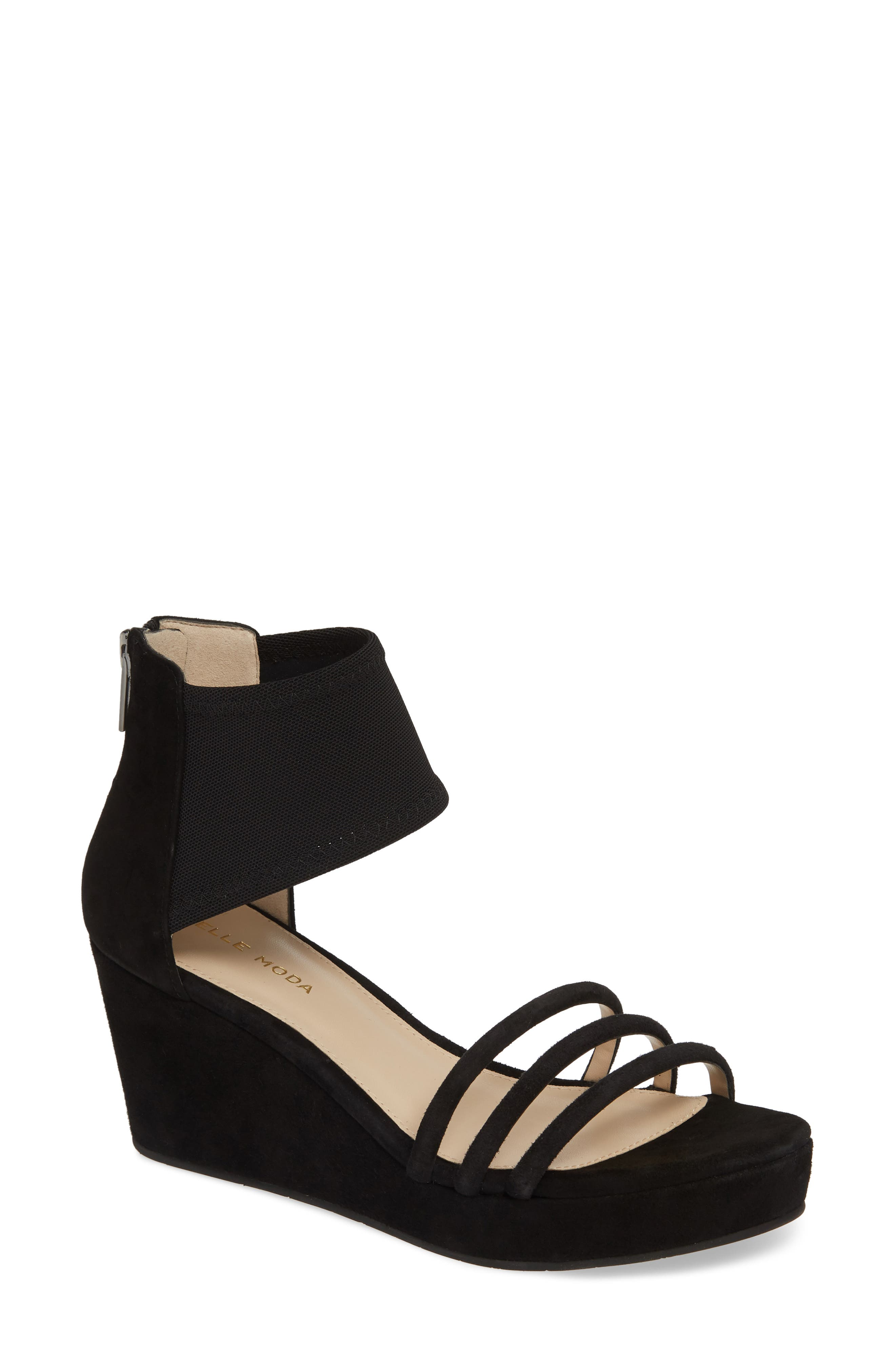 PELLE MODA, Katrice Platform Wedge Sandal, Main thumbnail 1, color, BLACK SUEDE