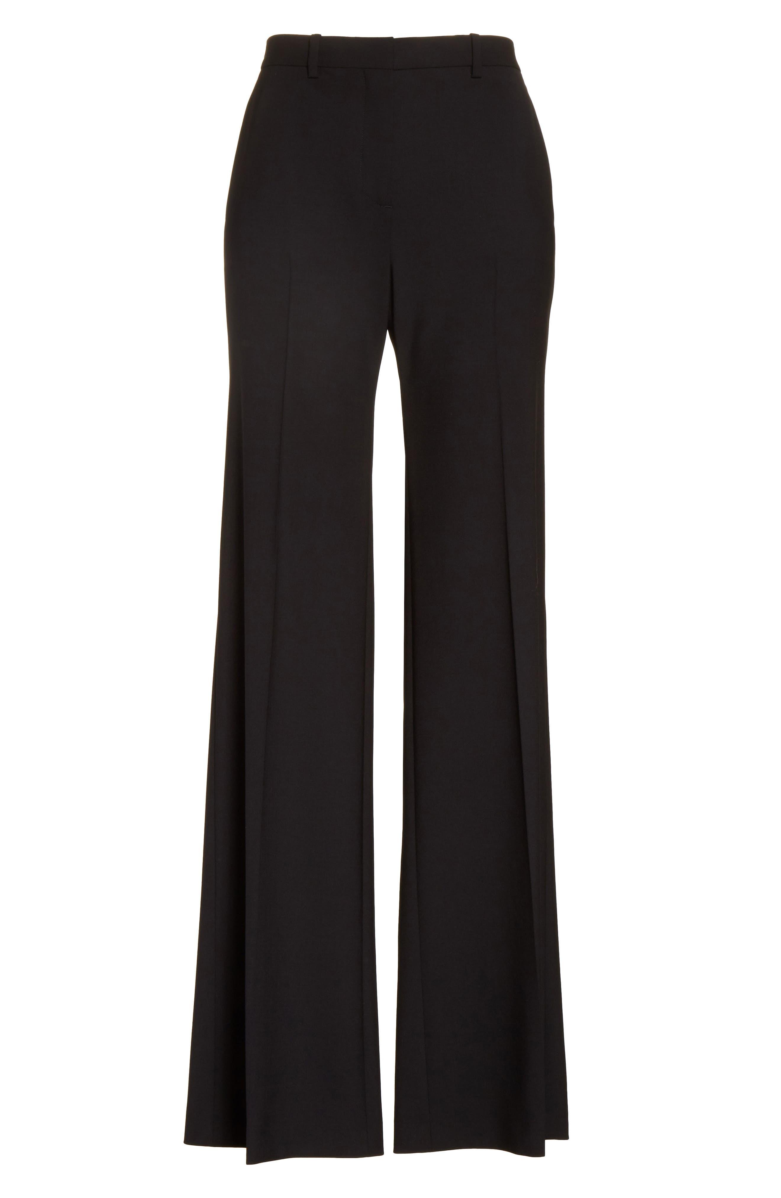 THEORY, Demetria 2 Flare Leg Good Wool Suit Pants, Alternate thumbnail 7, color, BLACK
