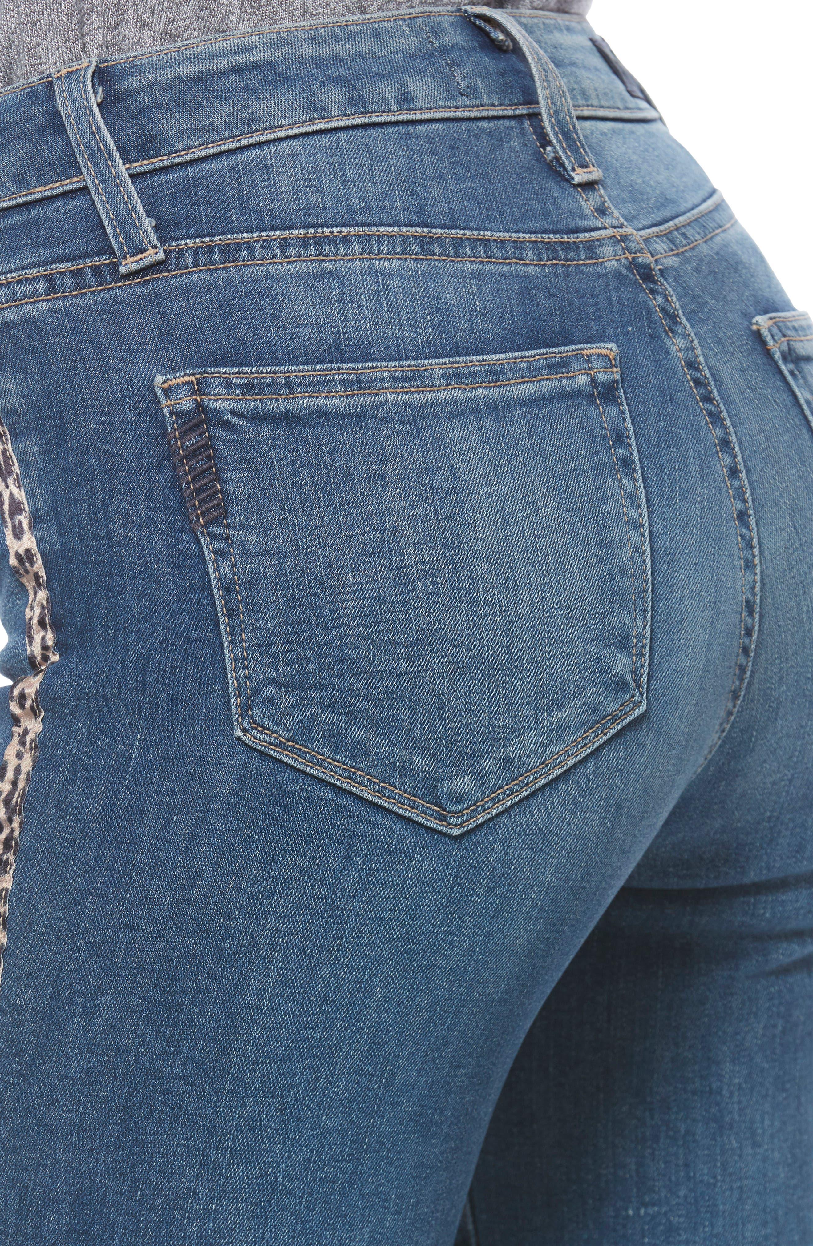 PAIGE, Hoxton High Waist Raw Hem Crop Skinny Jeans, Alternate thumbnail 8, color, BARKLEY W/ LEOPARD